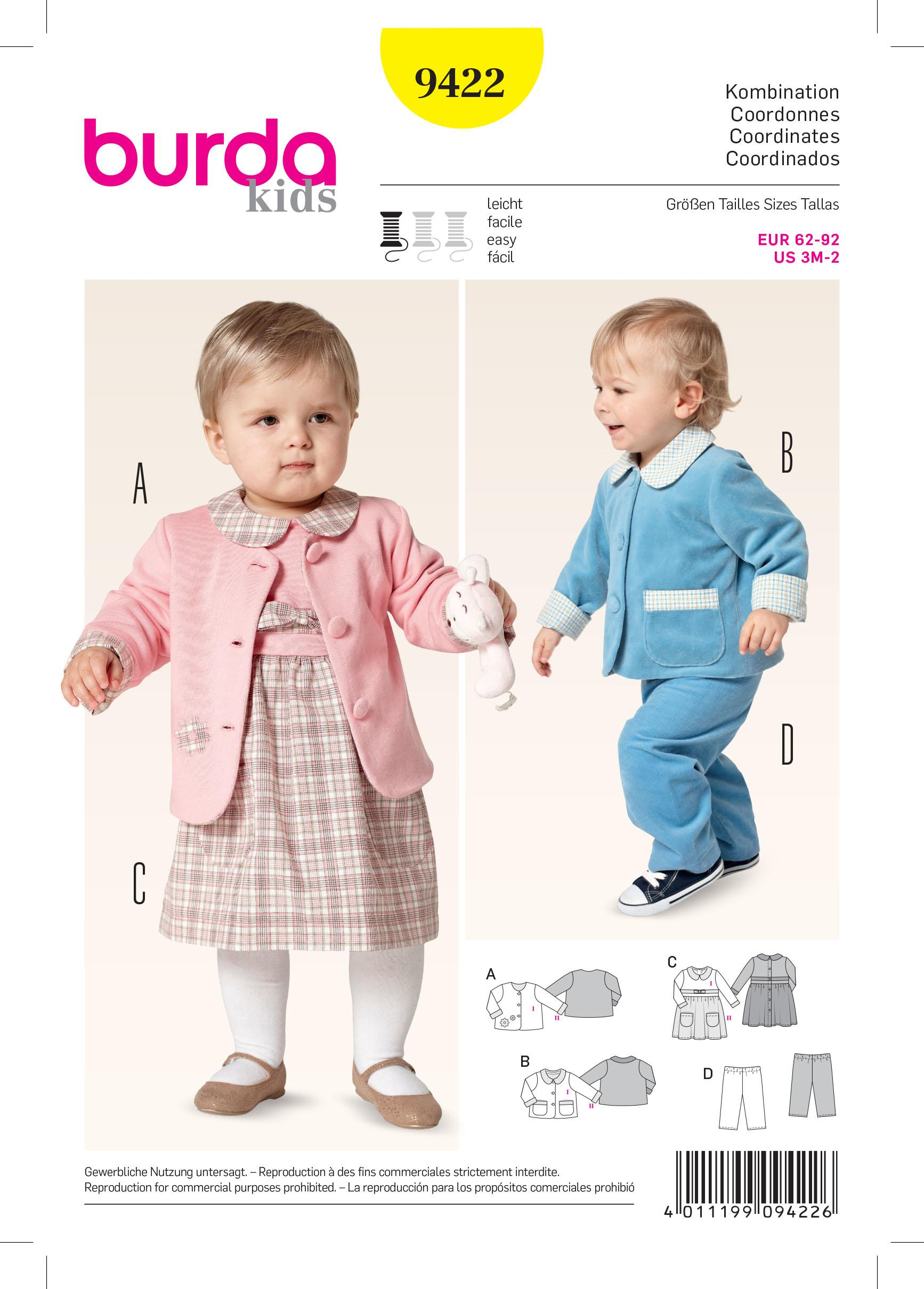 Burda B9422 Baby Sewing Pattern