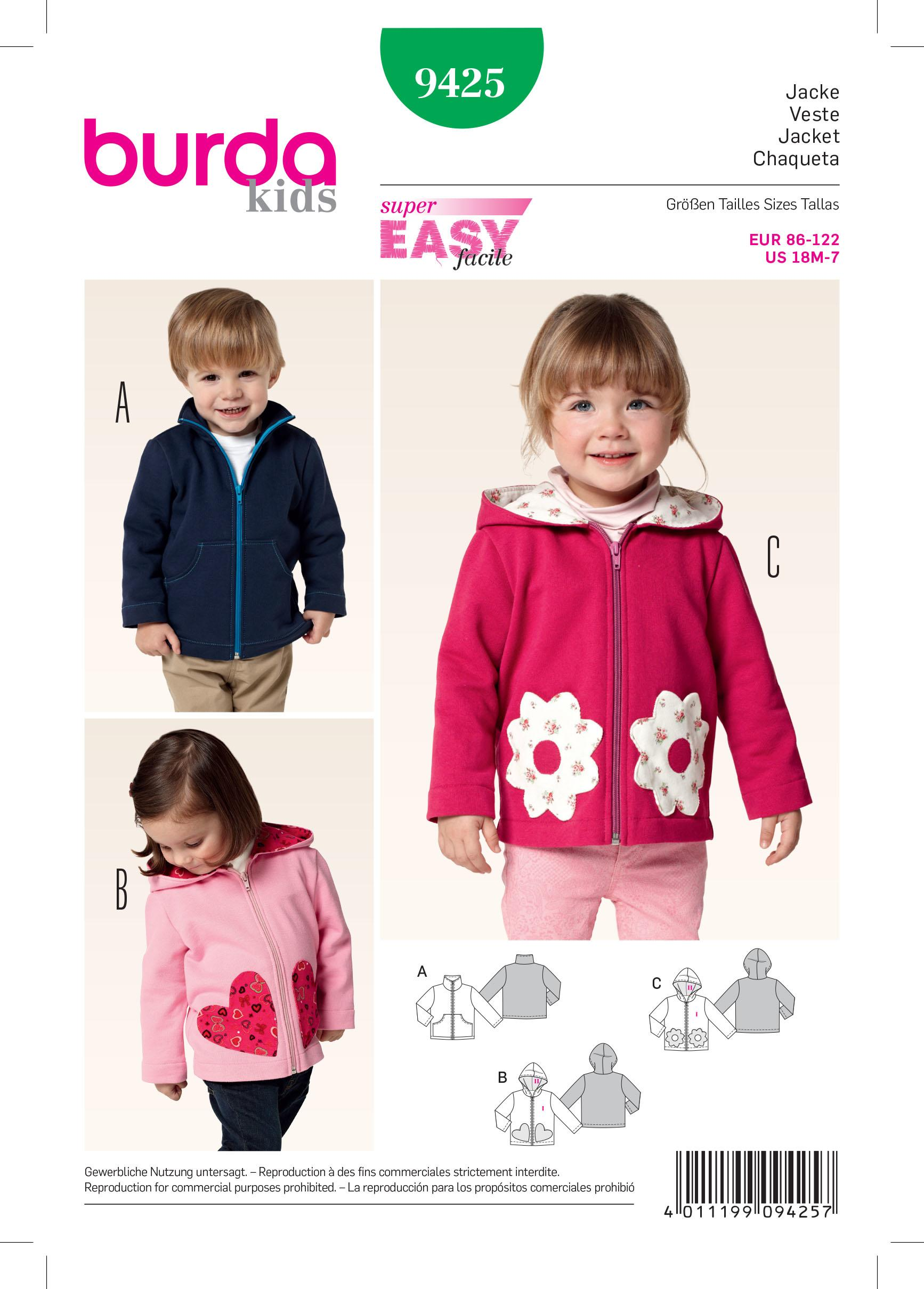 Burda B9425 Toddlers Sewing Pattern