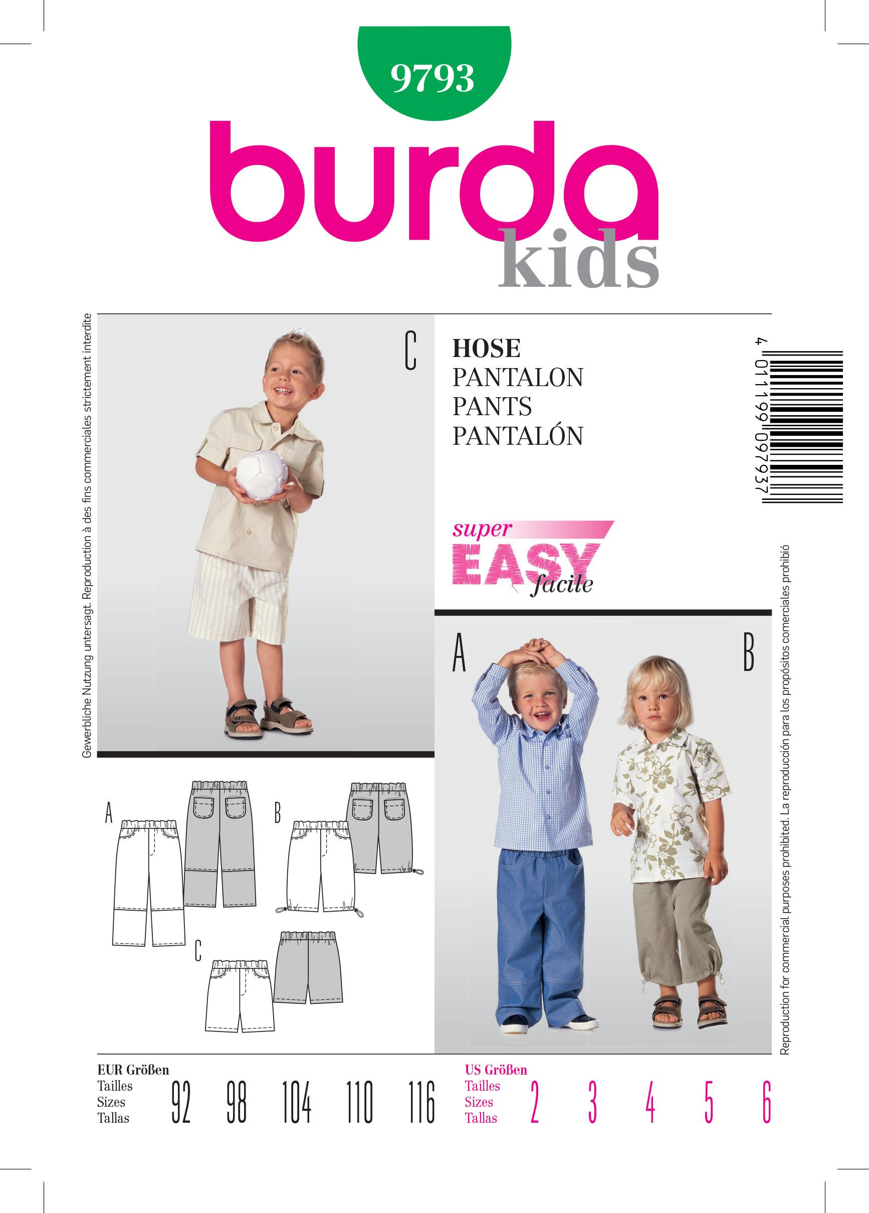 Burda B9793 Trousers Sewing Pattern