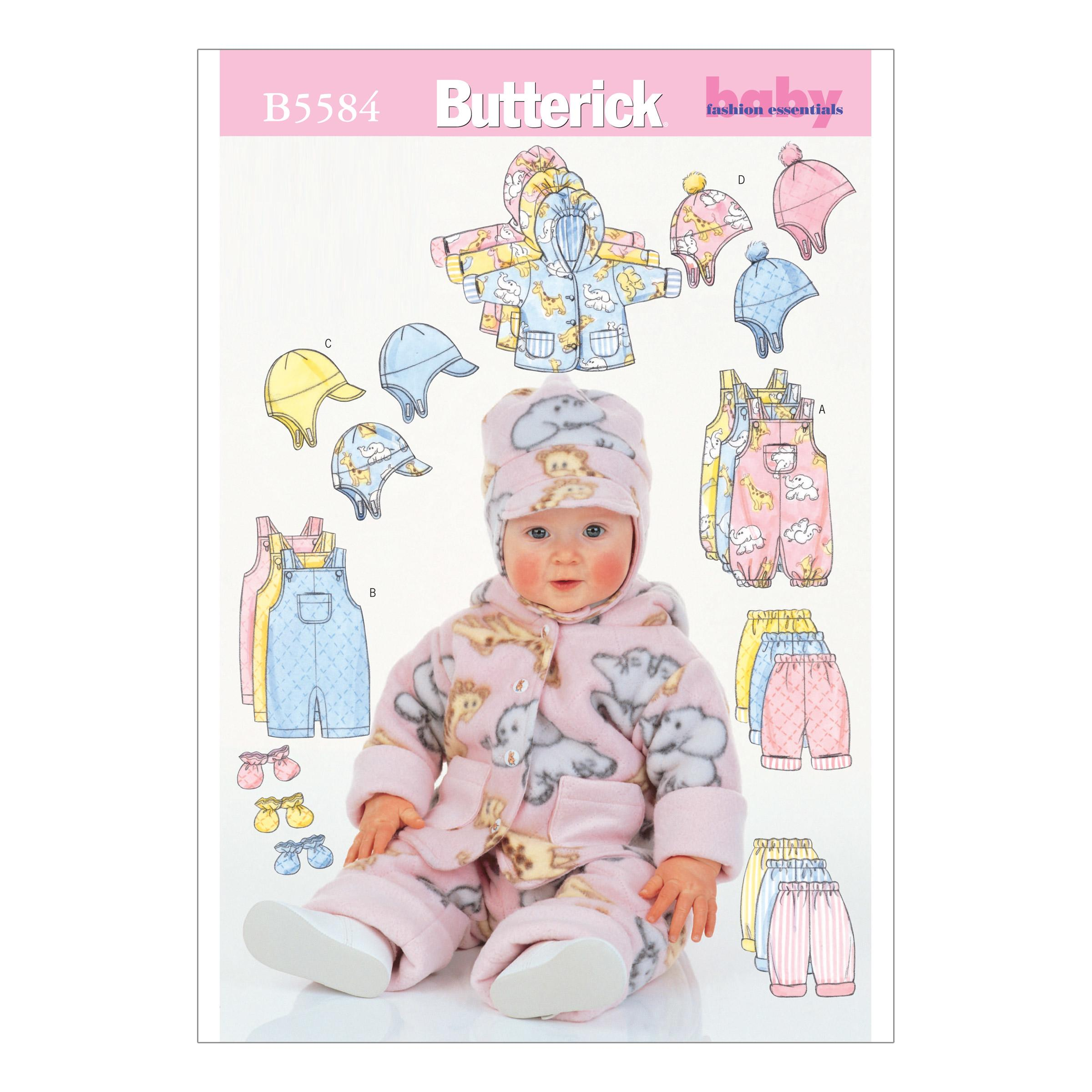 Butterick B5584 Infants' Jacket, Overalls, Pants, Hat and Mittens