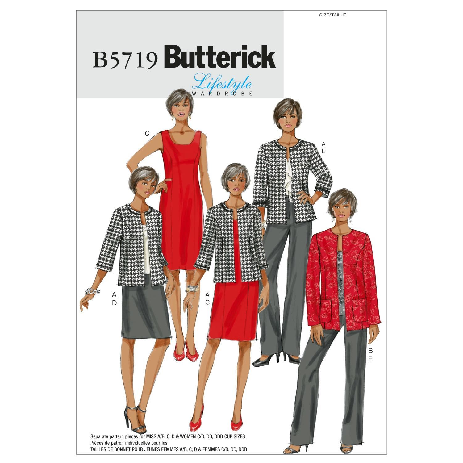 Butterick B5719 Misses'/Women's Jacket, Dress, Skirt and Pants