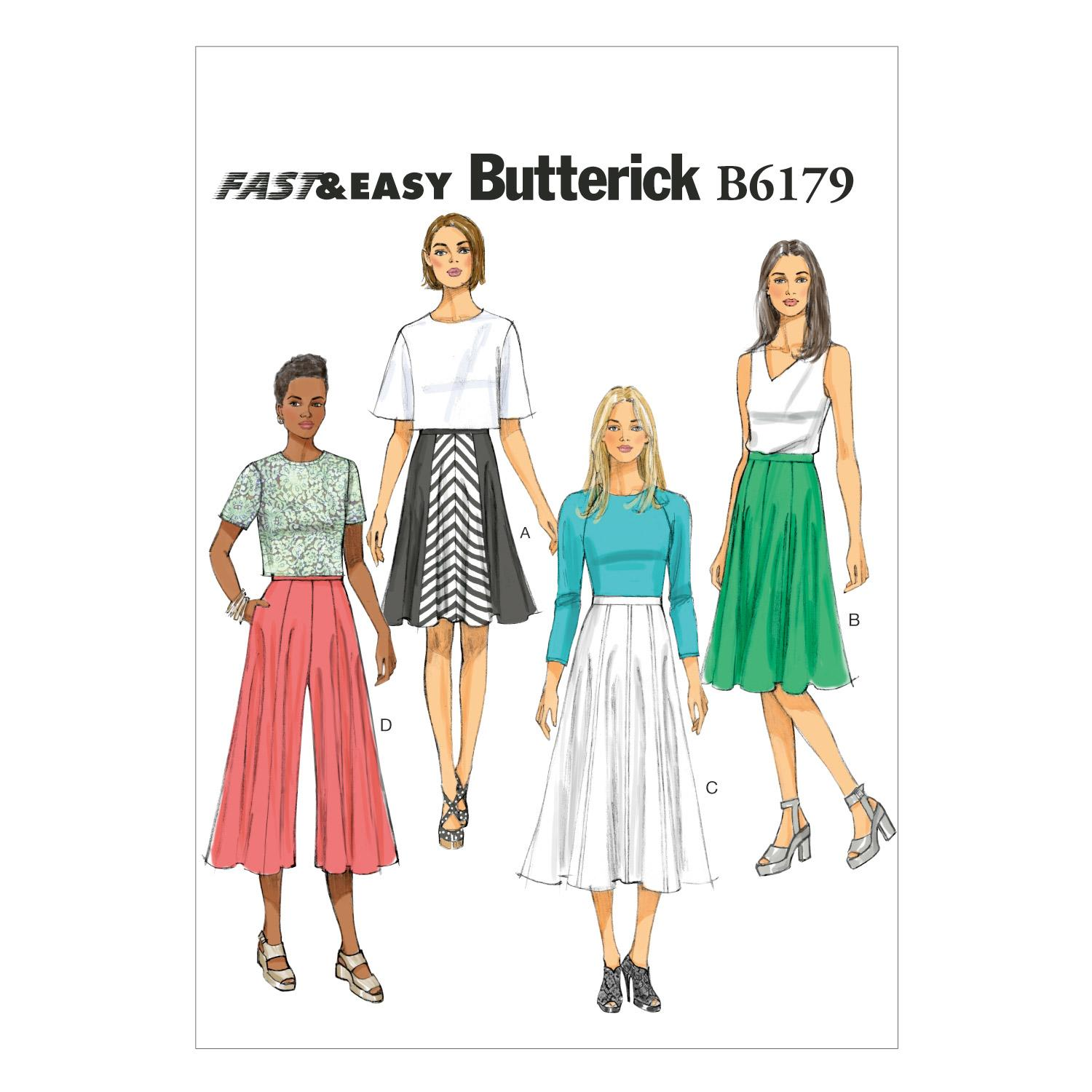 Butterick B6179 Misses' Skirt and Culottes