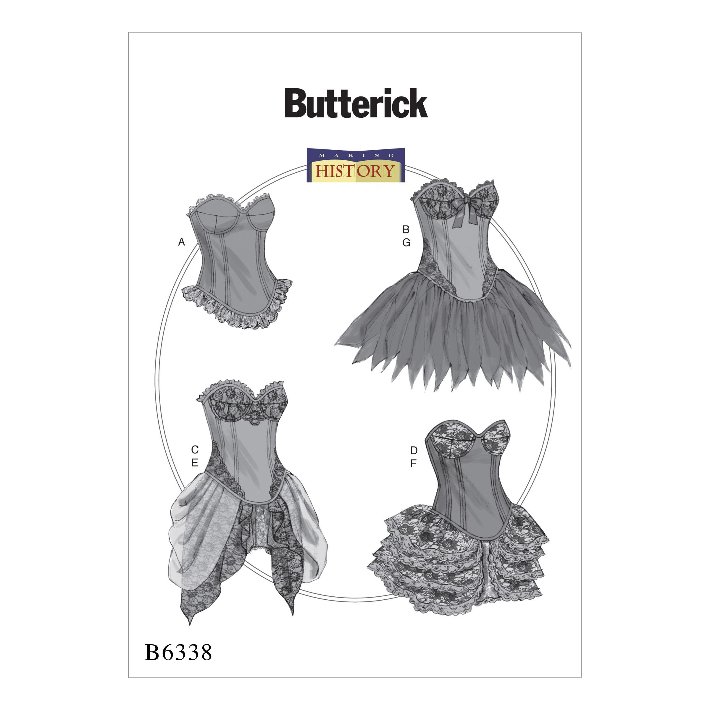 Butterick B6338 Curved-Hem Corsets and Skirts