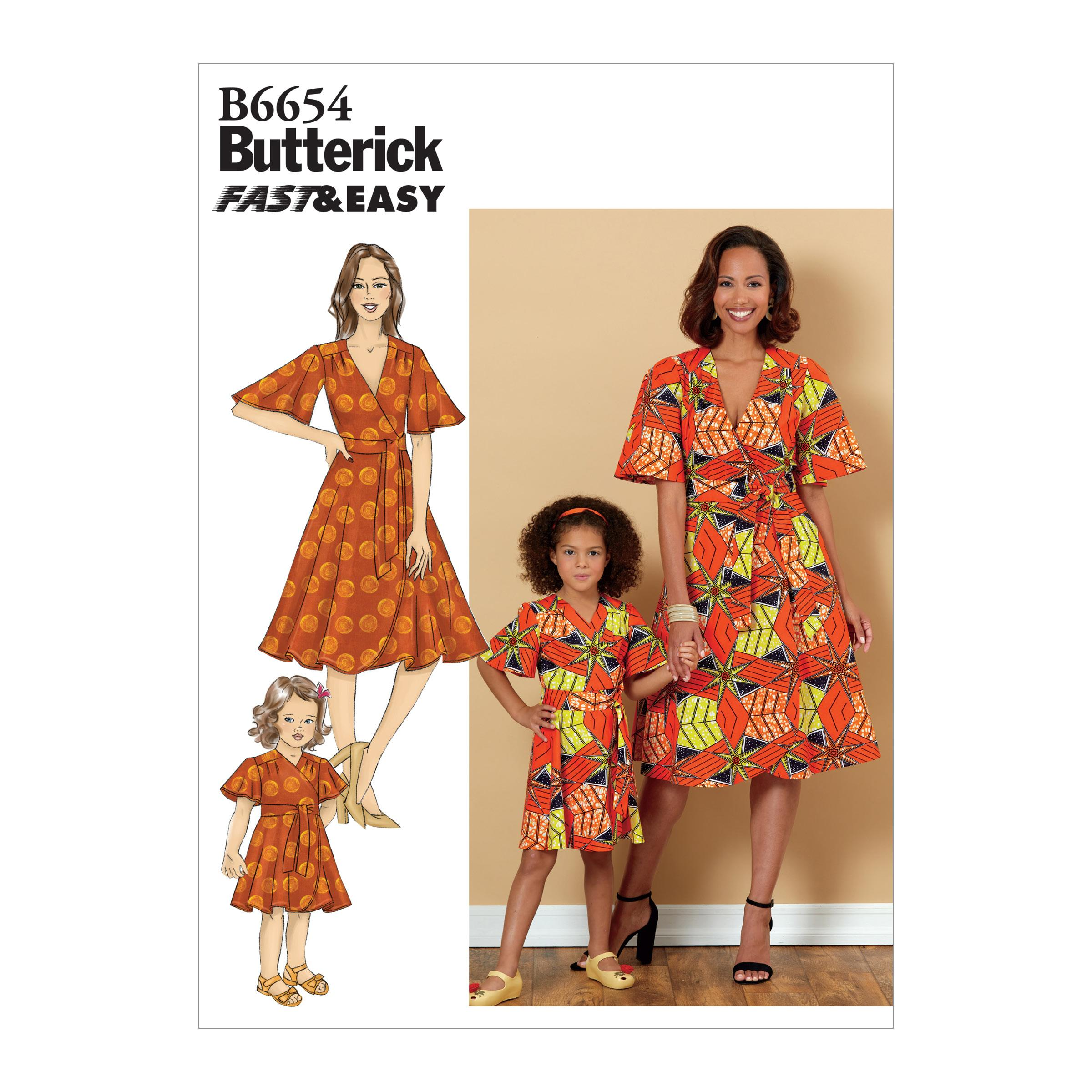 Butterick B6654 Misses', Children's and Girl's Dress and Sash