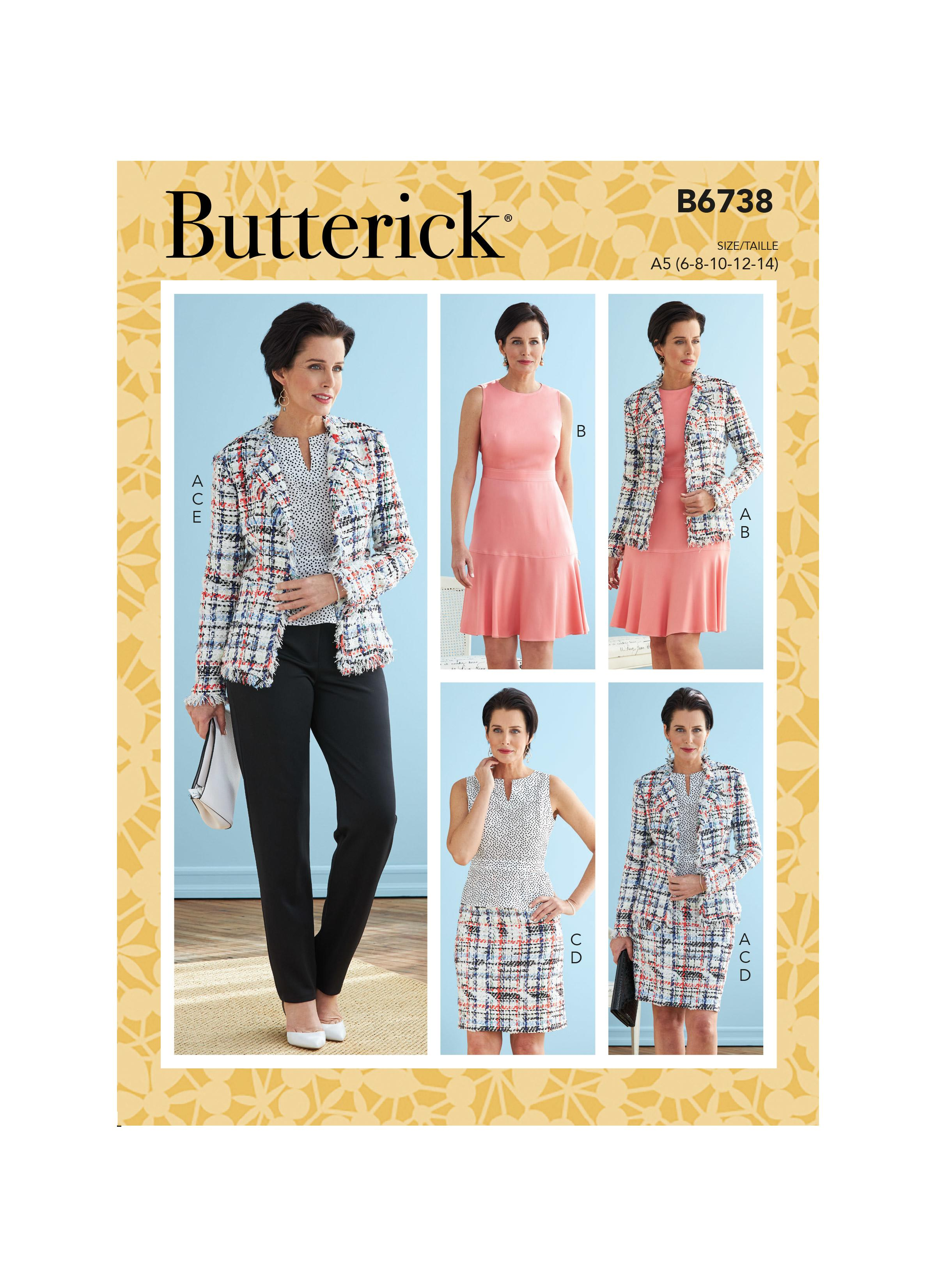 Butterick B6738 Misses' Jacket, Dress, Top, Skirt & Pants