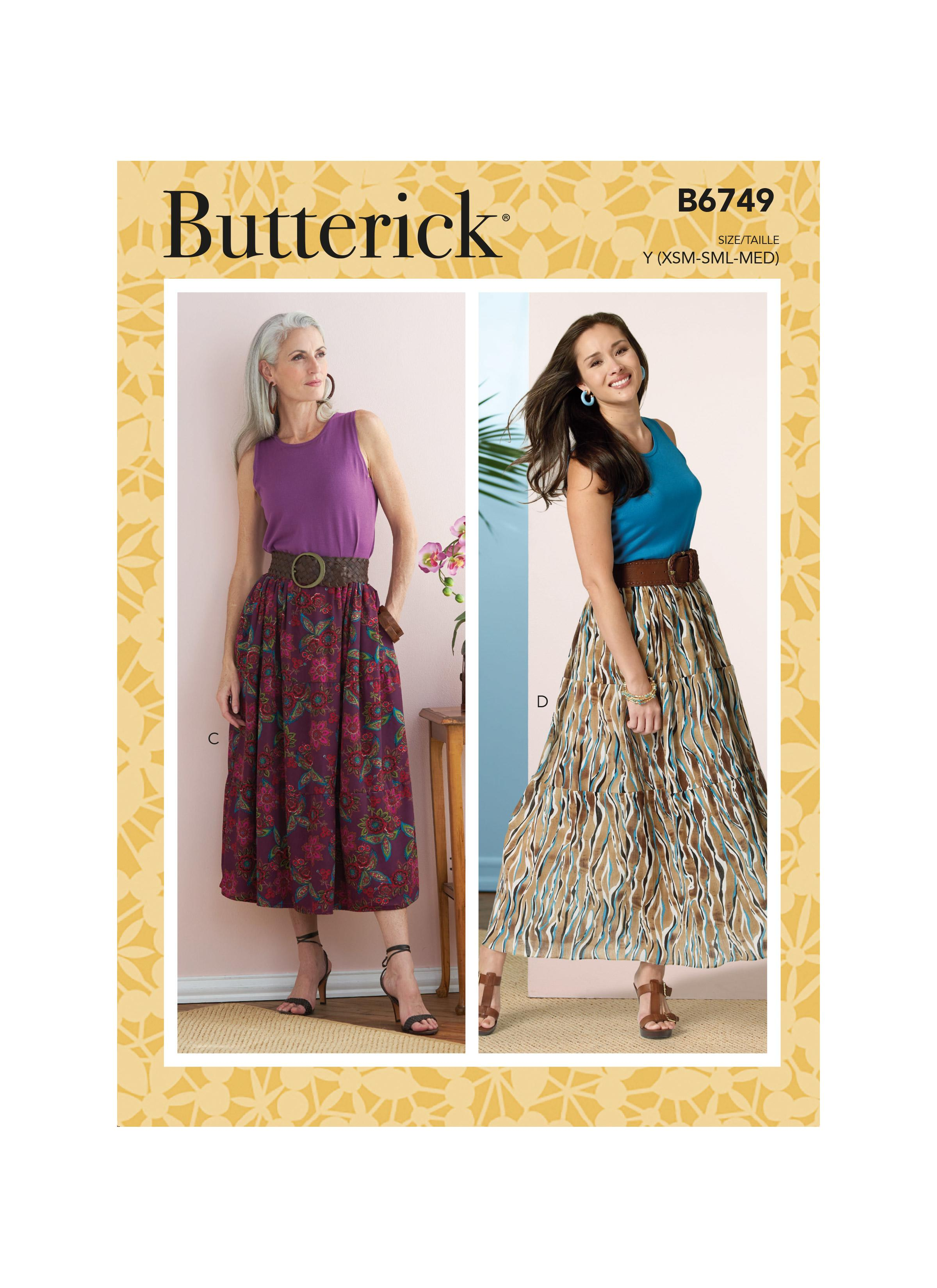 Butterick B6749 Misses' Gathered-Waist Skirts