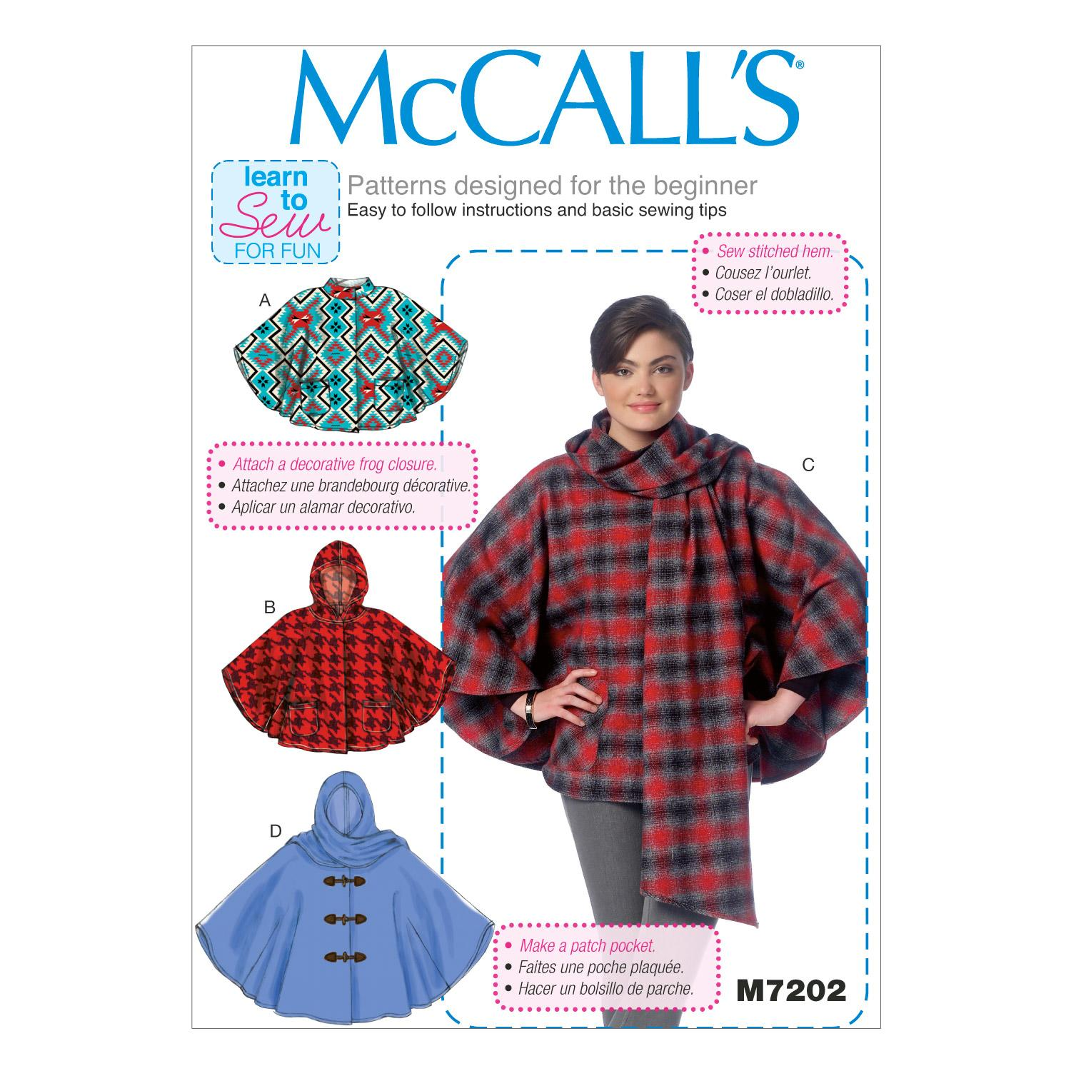 McCalls M7202 Coats/Capes/ Ponchos, Learn To Sew for Fun