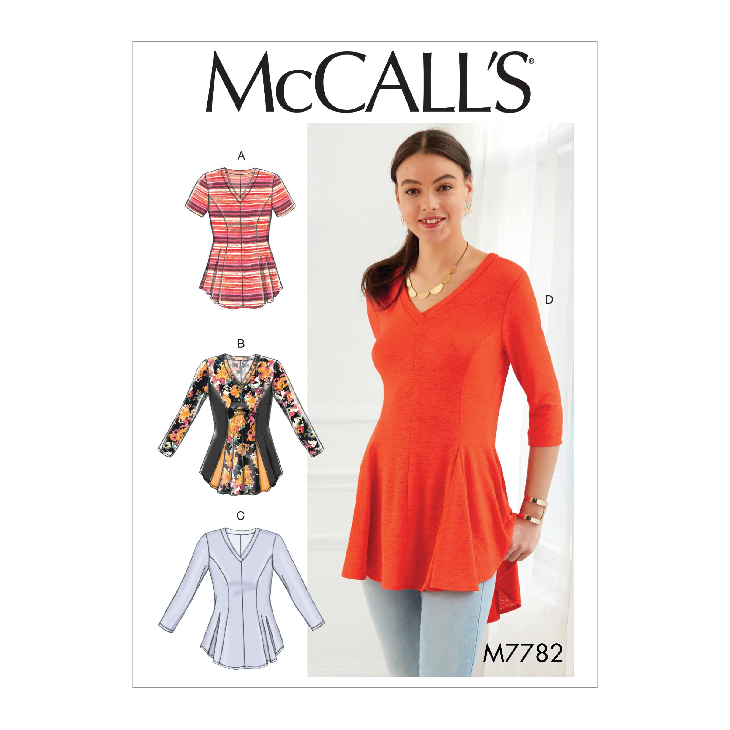 McCalls M7782 Misses Tops, Plus Sizes