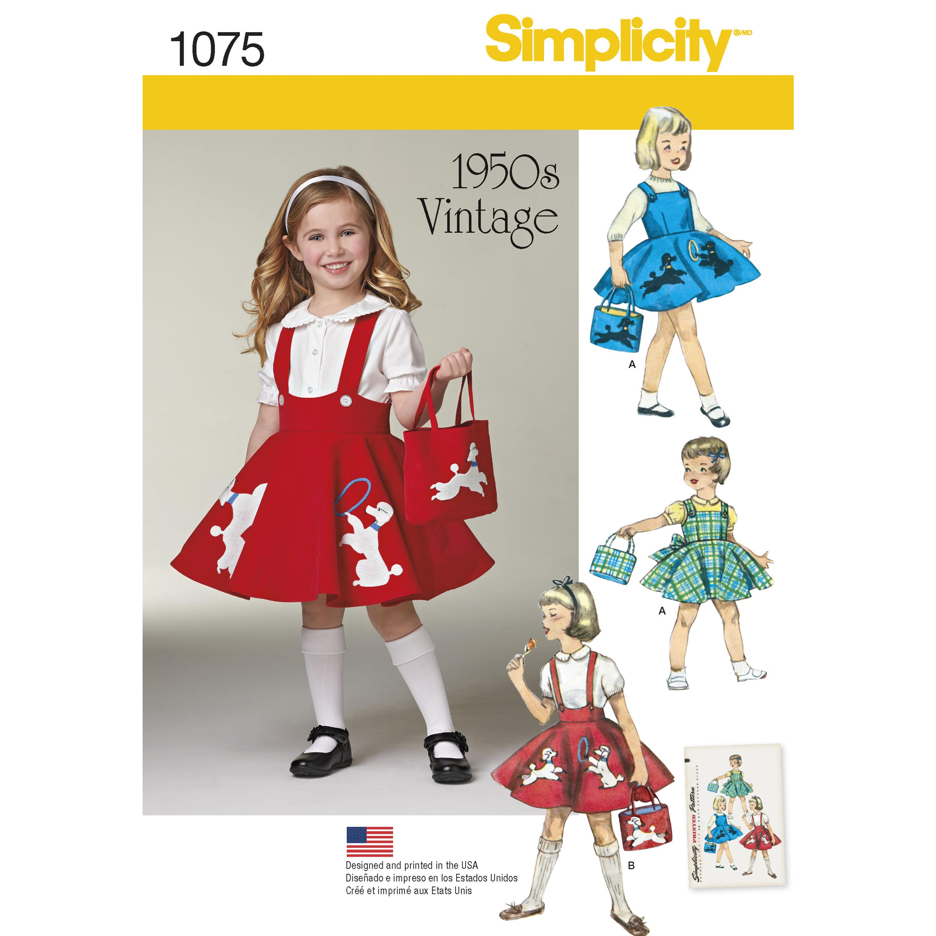 Simplicity S1075 Child's Jumper, Skirt and Bag