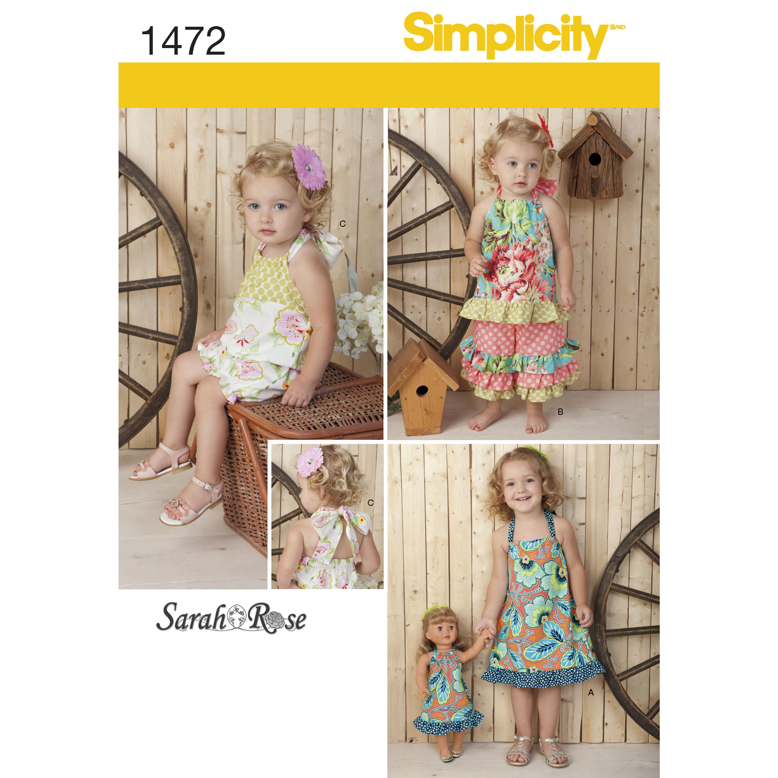 "Simplicity S1472 Toddlers' Romper, Dress, Top, Trousers & 18"" Doll Dress"