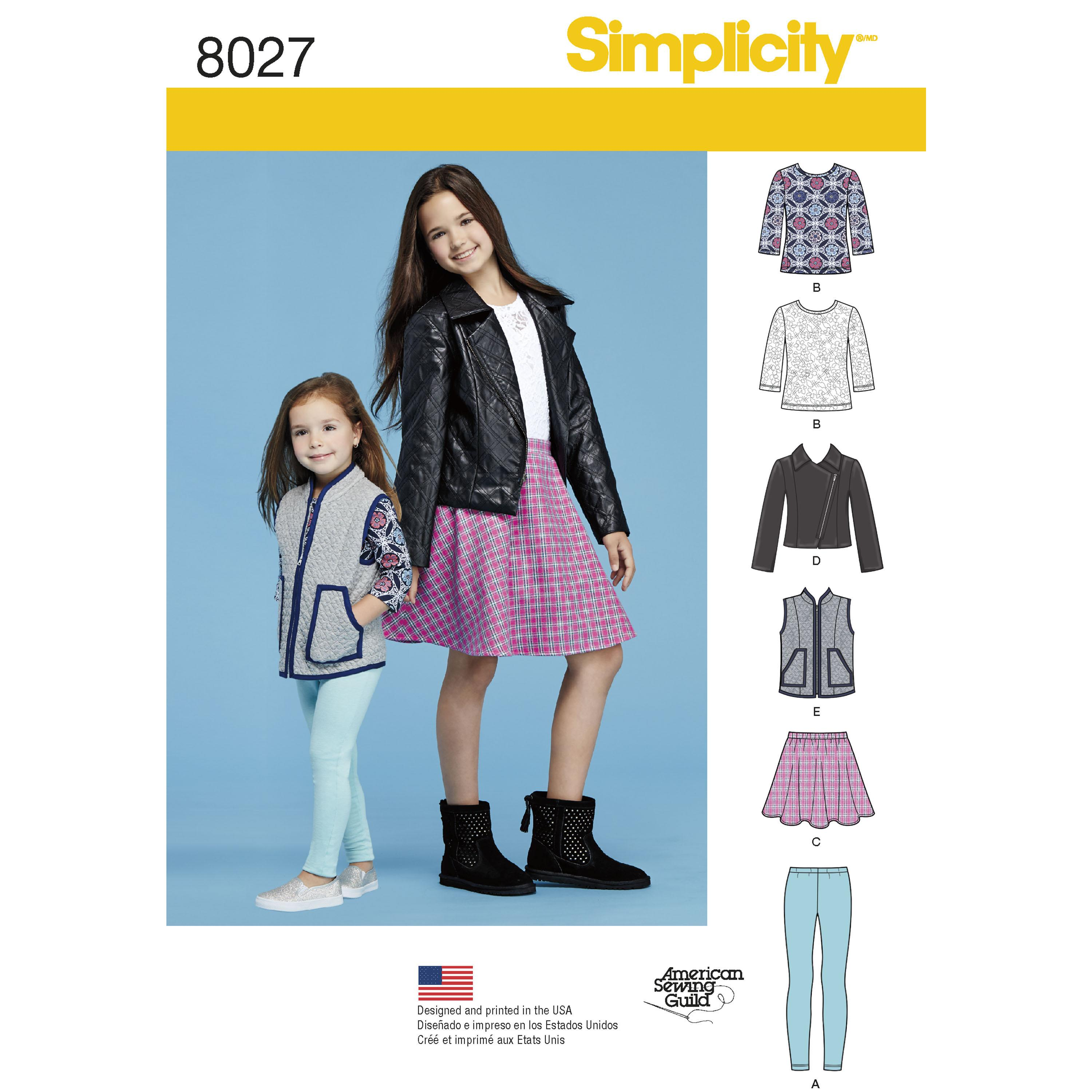 Simplicity S8027 Child's and Girls' Sportswear Pattern