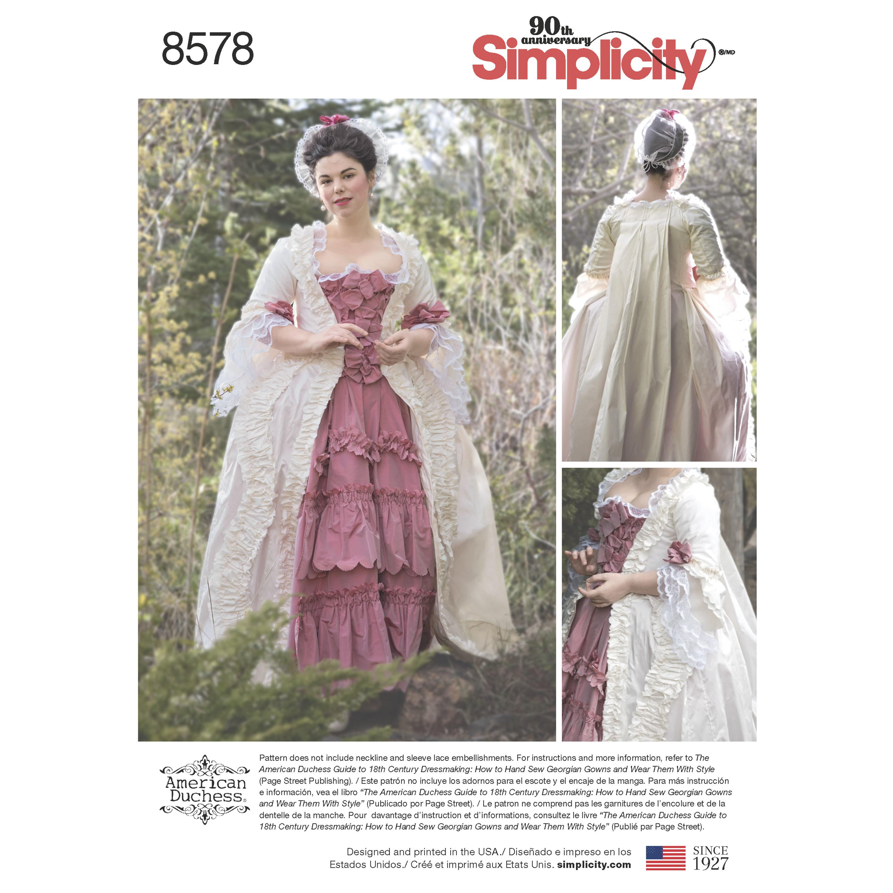 Simplicity S8578  Womens' 18th Century Gown