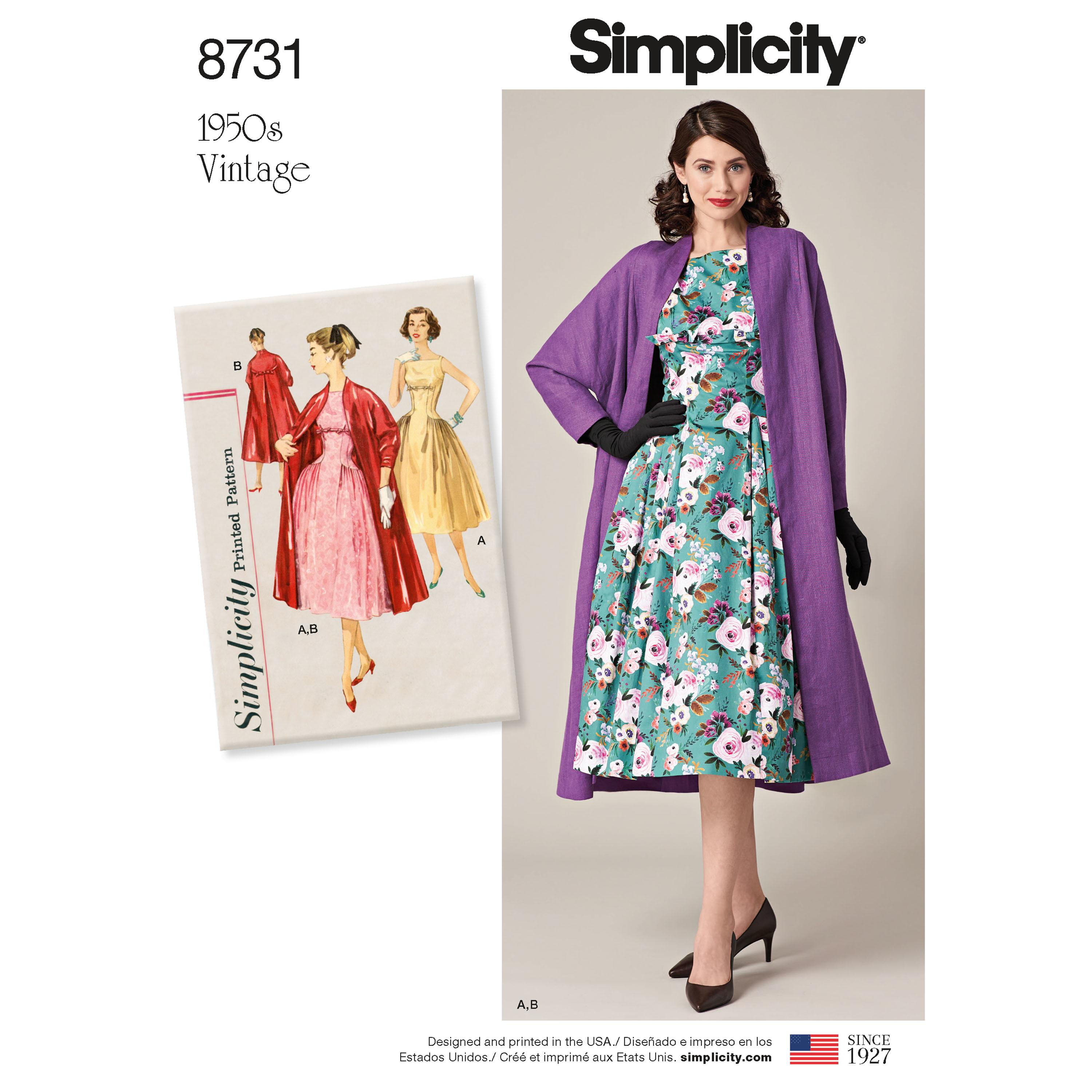 Simplicity S8731 Women's  Vintage Dress and Lined Coat