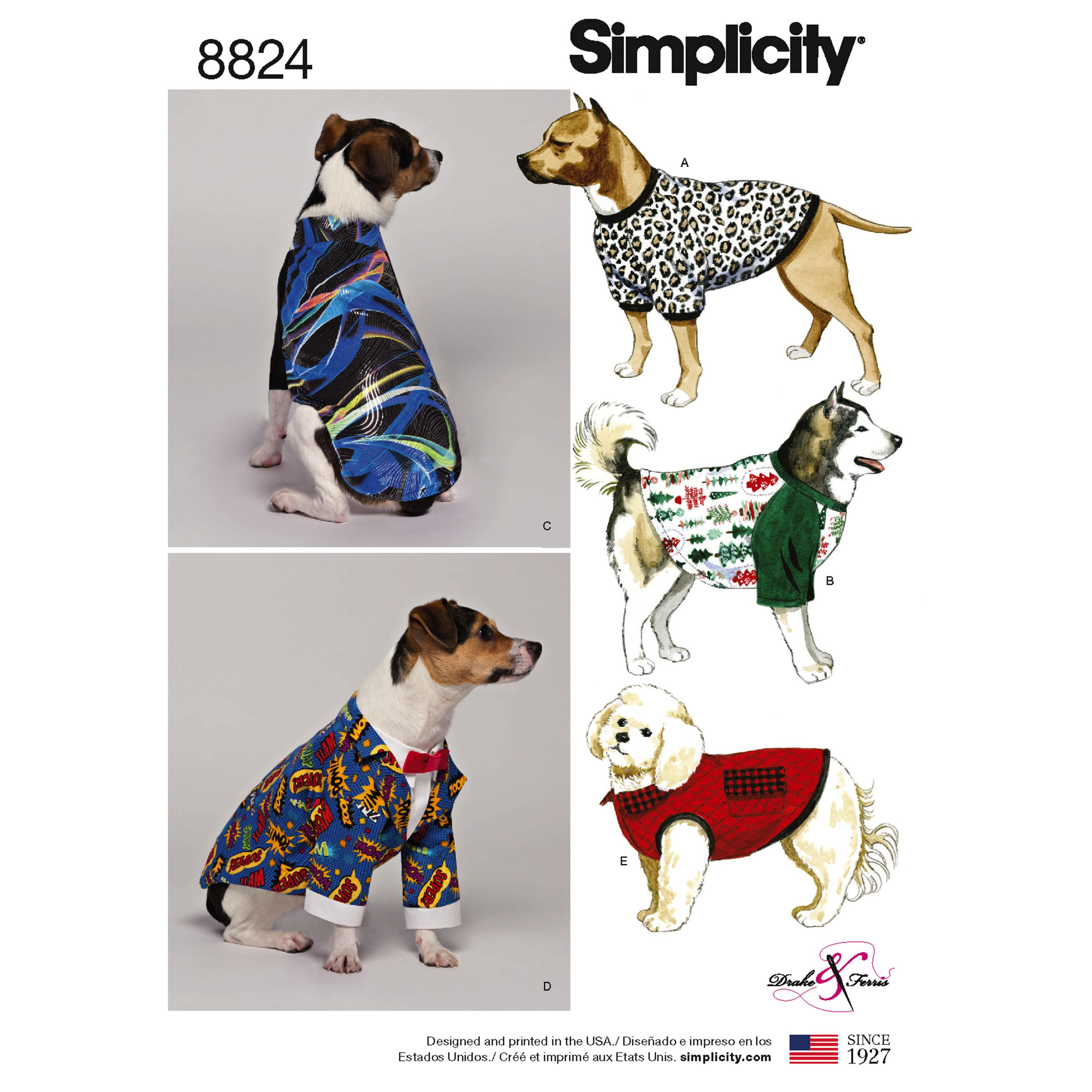 Simplicity S8824 Dog Coats in Three Sizes