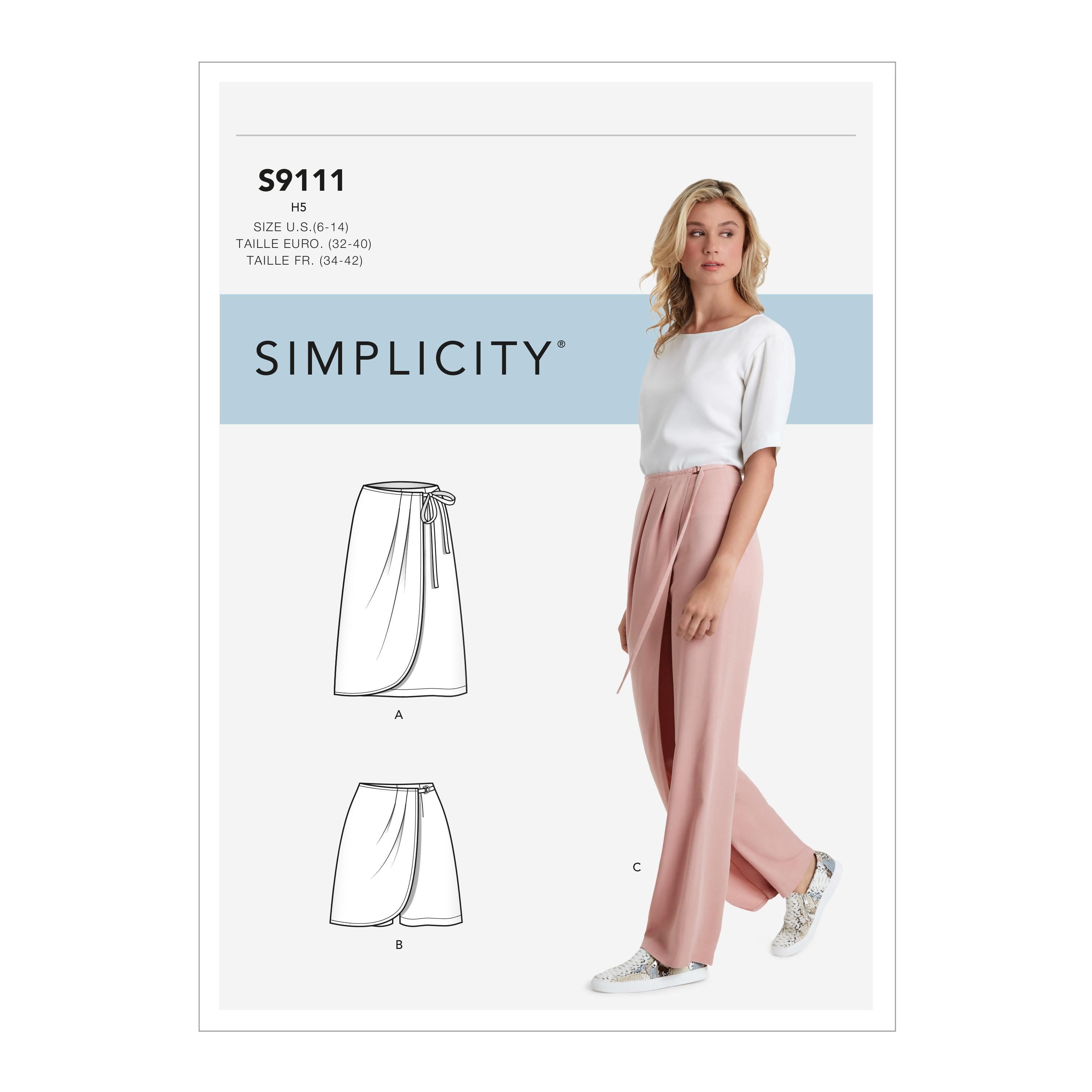 Simplicity S9111 Misses' Faux Wrap Pants, Skirt & Shorts