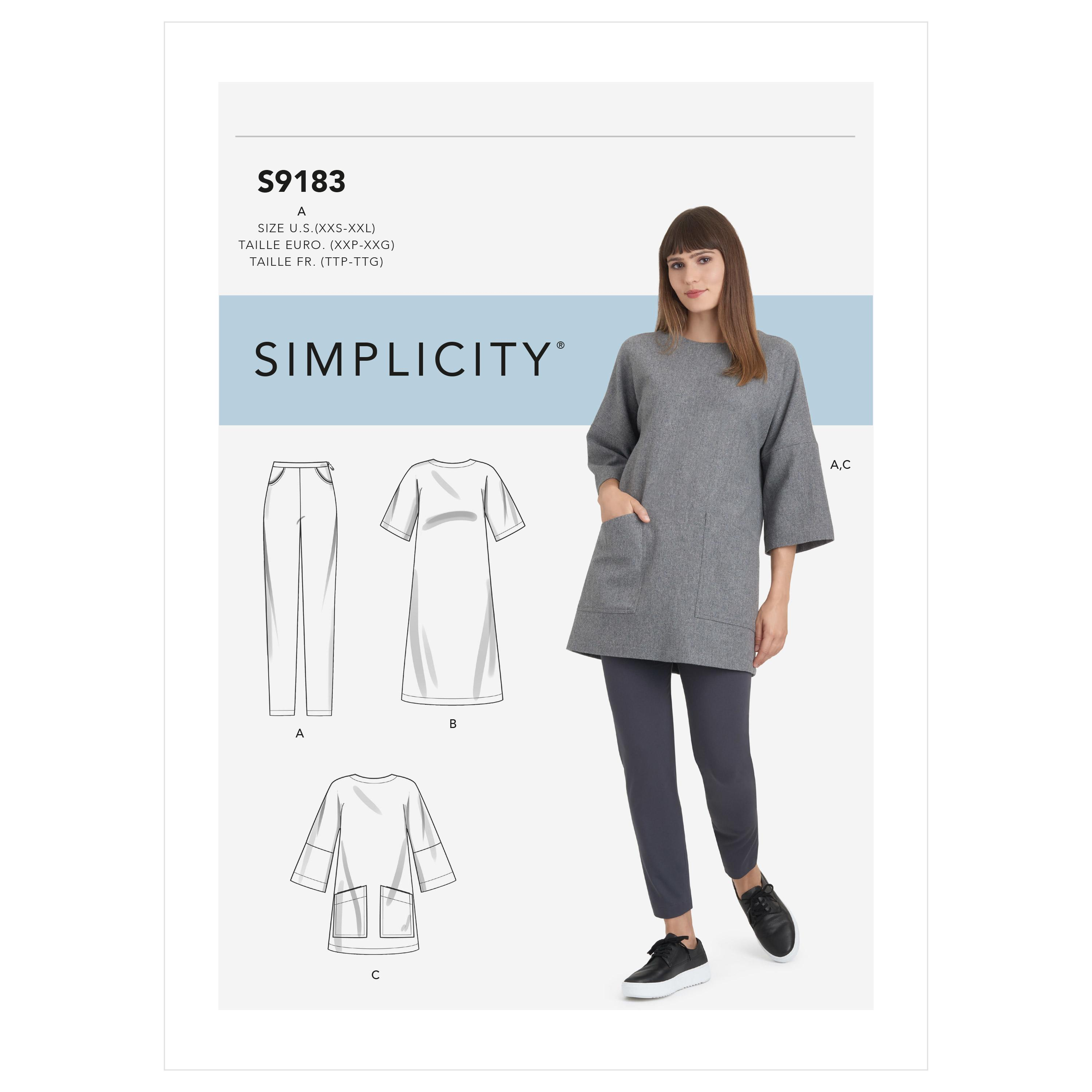Simplicity S9183 Misses' Tunic, Top, Dress & Legging