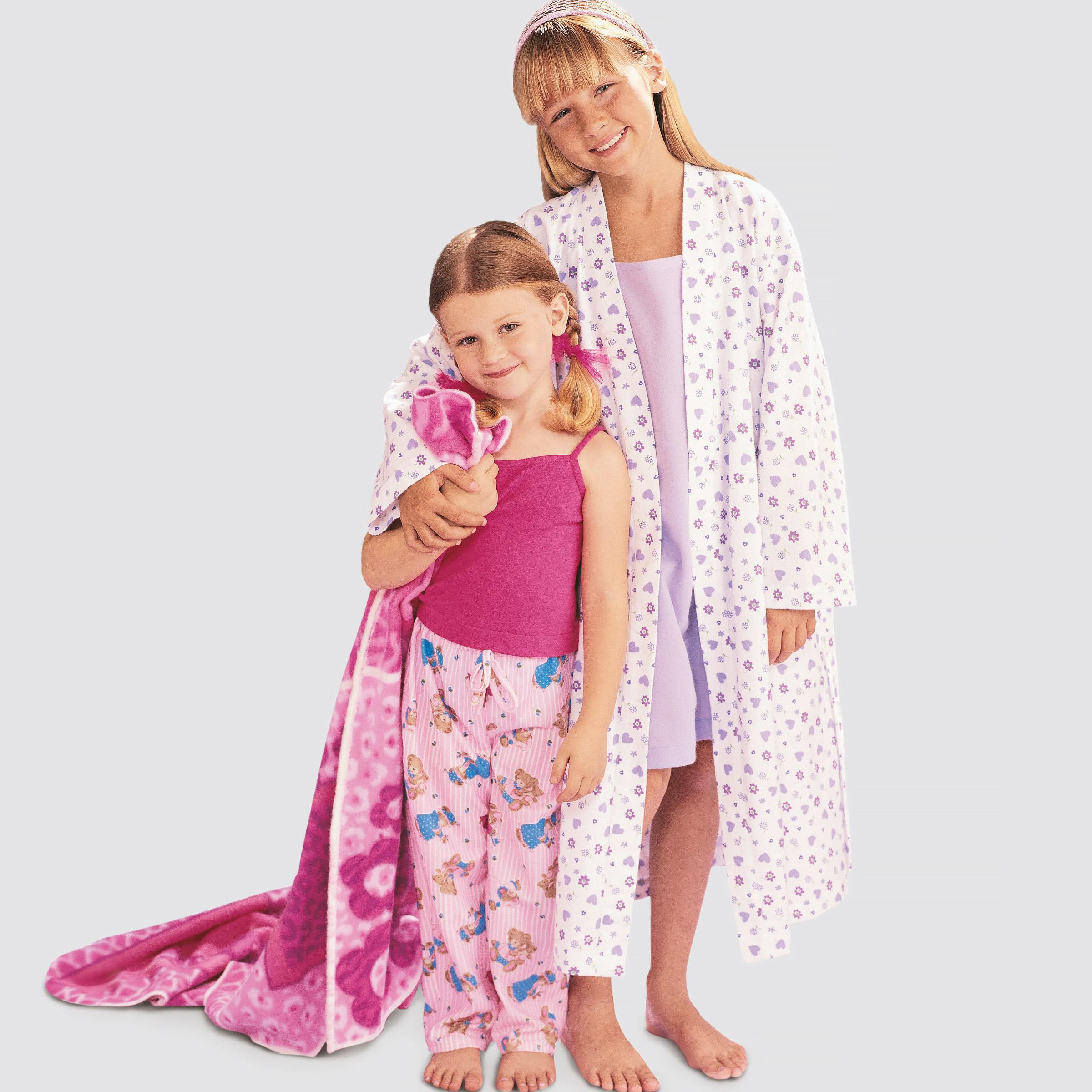 Simplicity S9208 Children's/Girls' Robe, Belt, Tops, Gown, Shorts and Pants