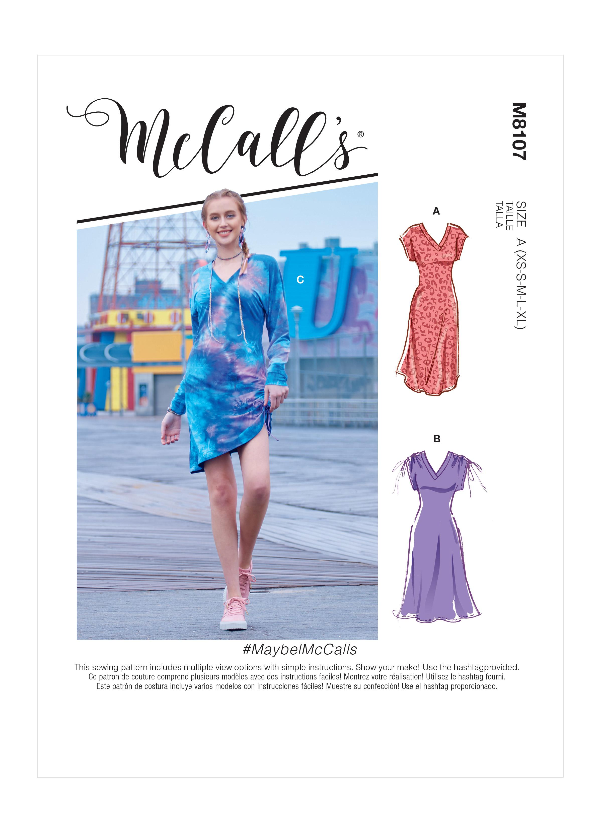 McCalls M8107 #MaybelMcCalls - Misses' V-Neck Pull-Over Knit Dresses With Drawstring Detail