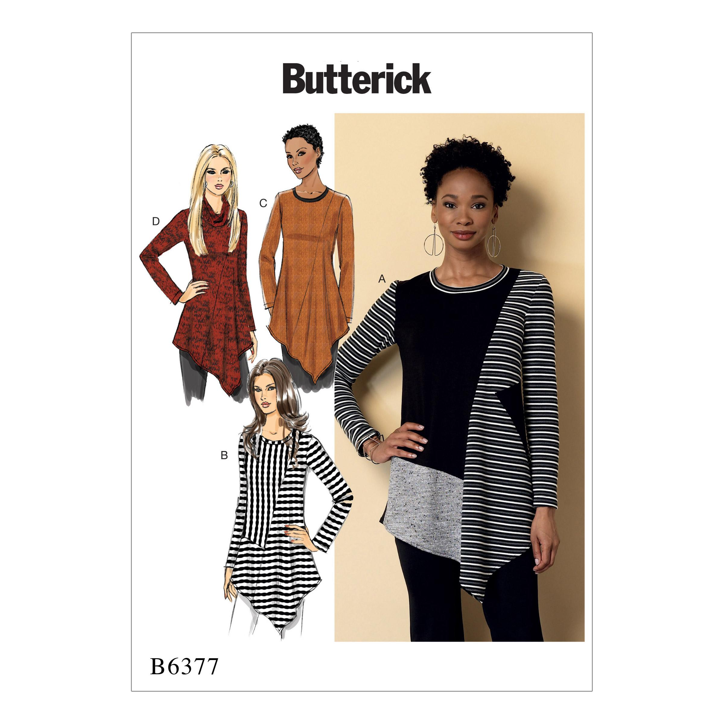 Butterick B6377 Misses' Seamed Tunics with Asymmetical Hems
