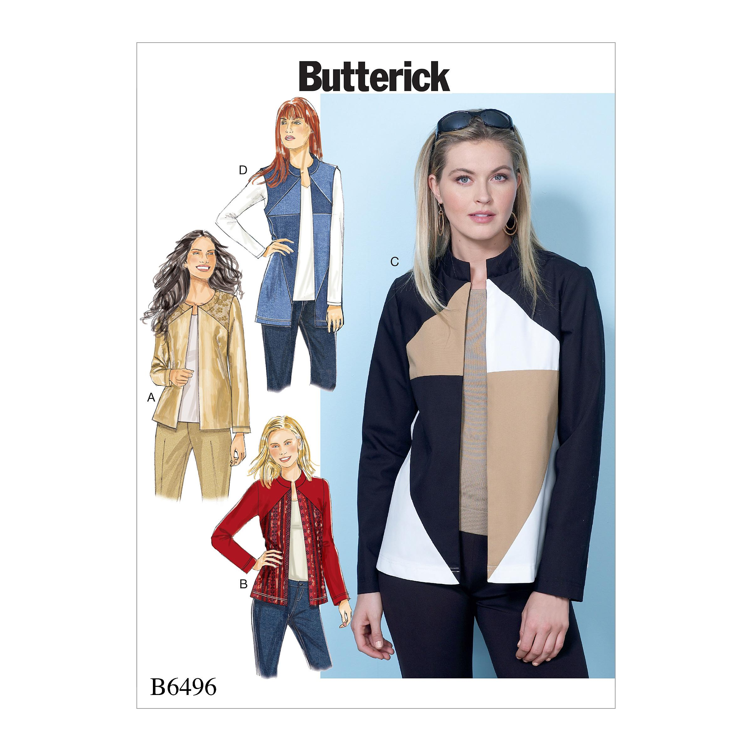Butterick B6496 Misses' Jackets and Vests with Contrast and Seam Variations