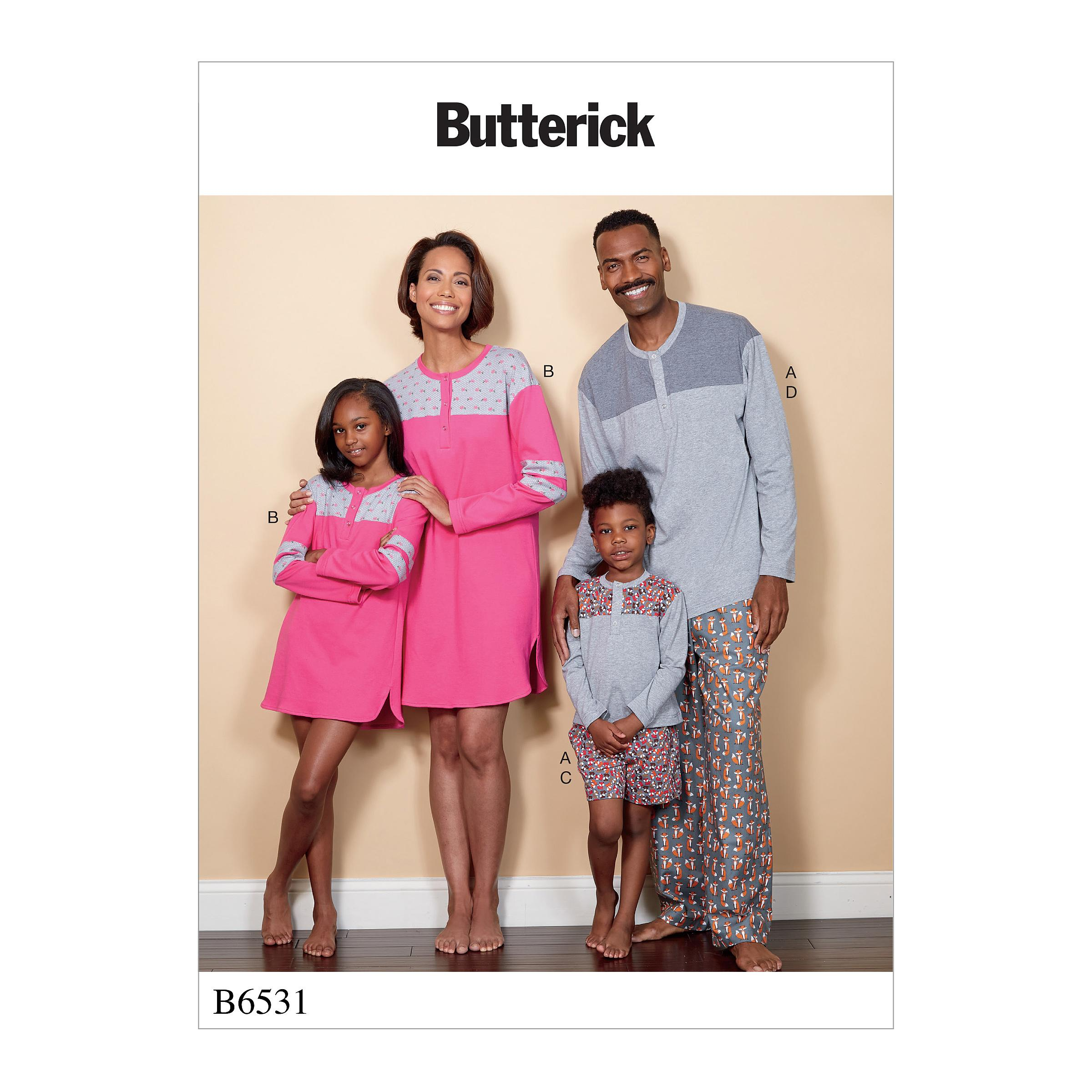 Butterick B6531 Misses'/Men's/Childrens'/Boys'/Girls' Top, Tunic, Shorts and Pants