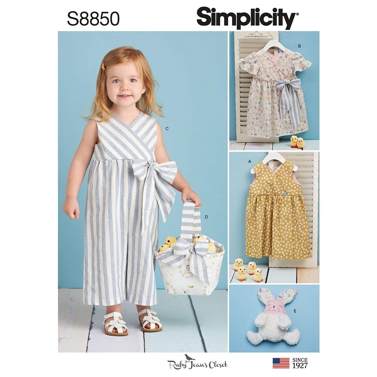 Simplicity S8850 Toddlers' Dress, Jumpsuit, Basket and Toy