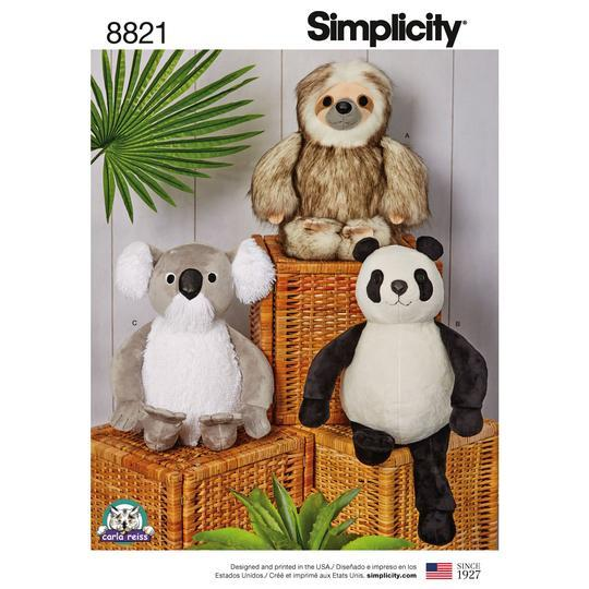 "Simplicity Sewing Pattern S8821 15"" Stuffed Animals"