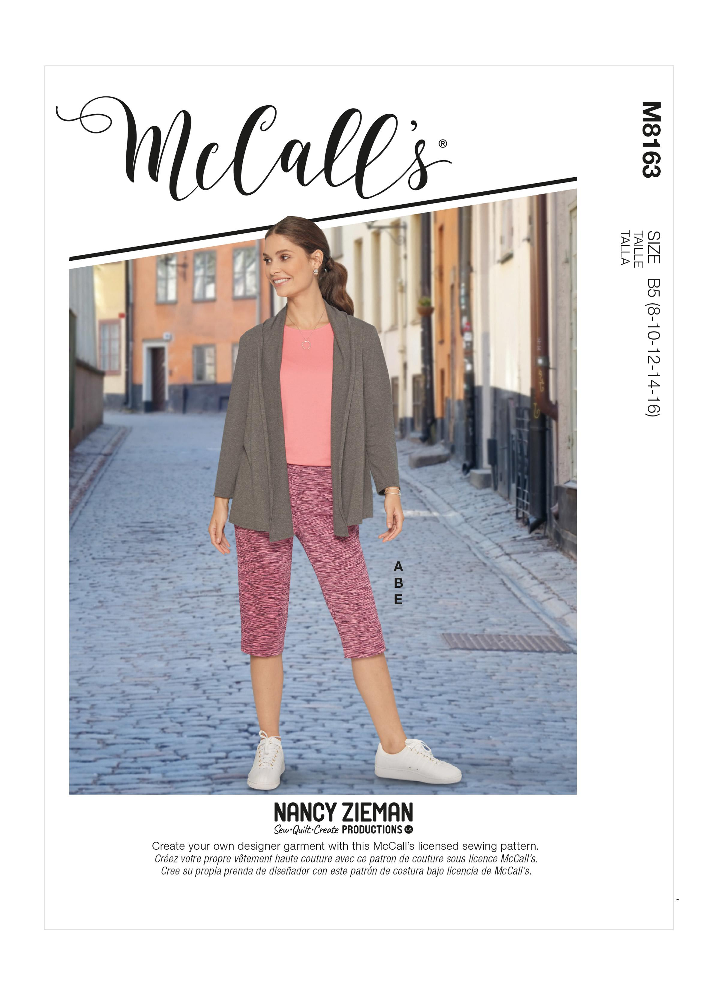 McCalls M8163 Misses' & Women's Knit Shawl Collar Jacket, Tops With Slits, Banded Skirt & Pants