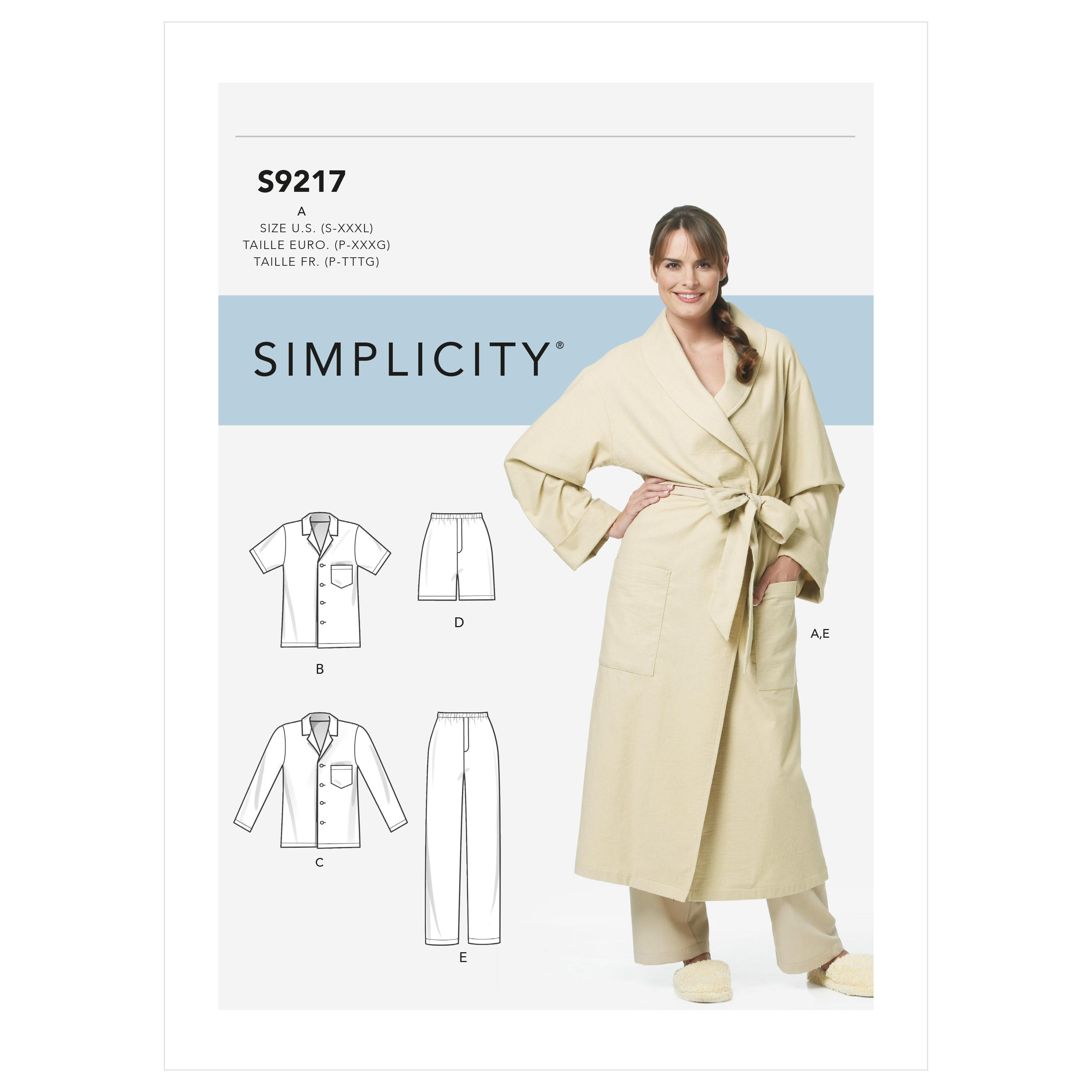 Simplicity Sewing Pattern S9217 Misses' & Men's Robe & Pajamas