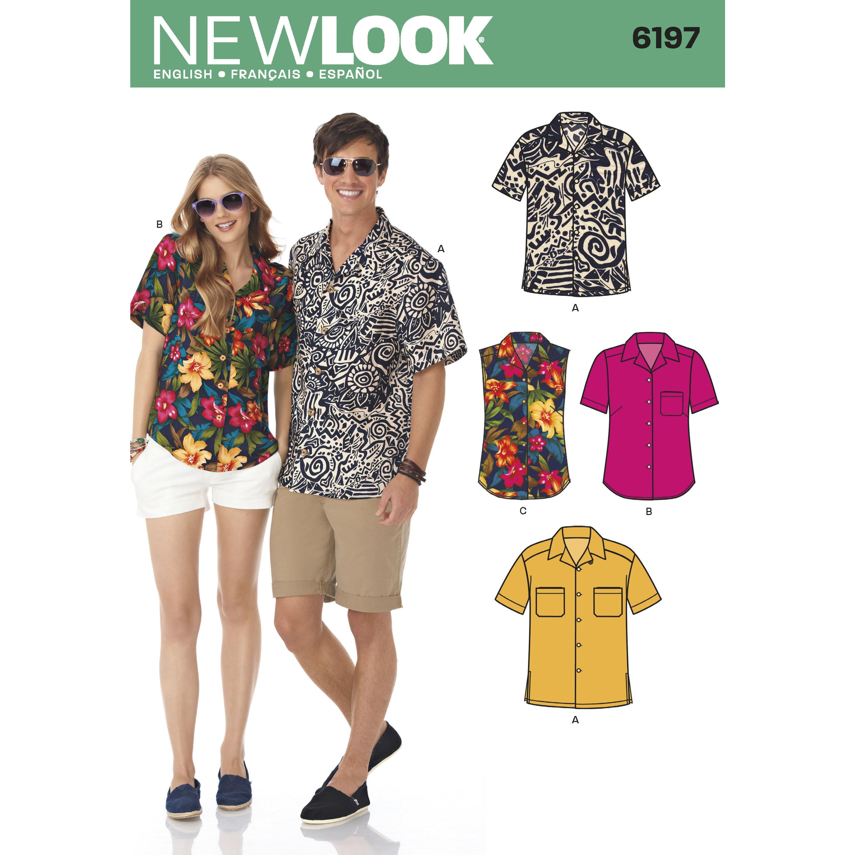 NewLook N6197 Misses' and Men's Shirts