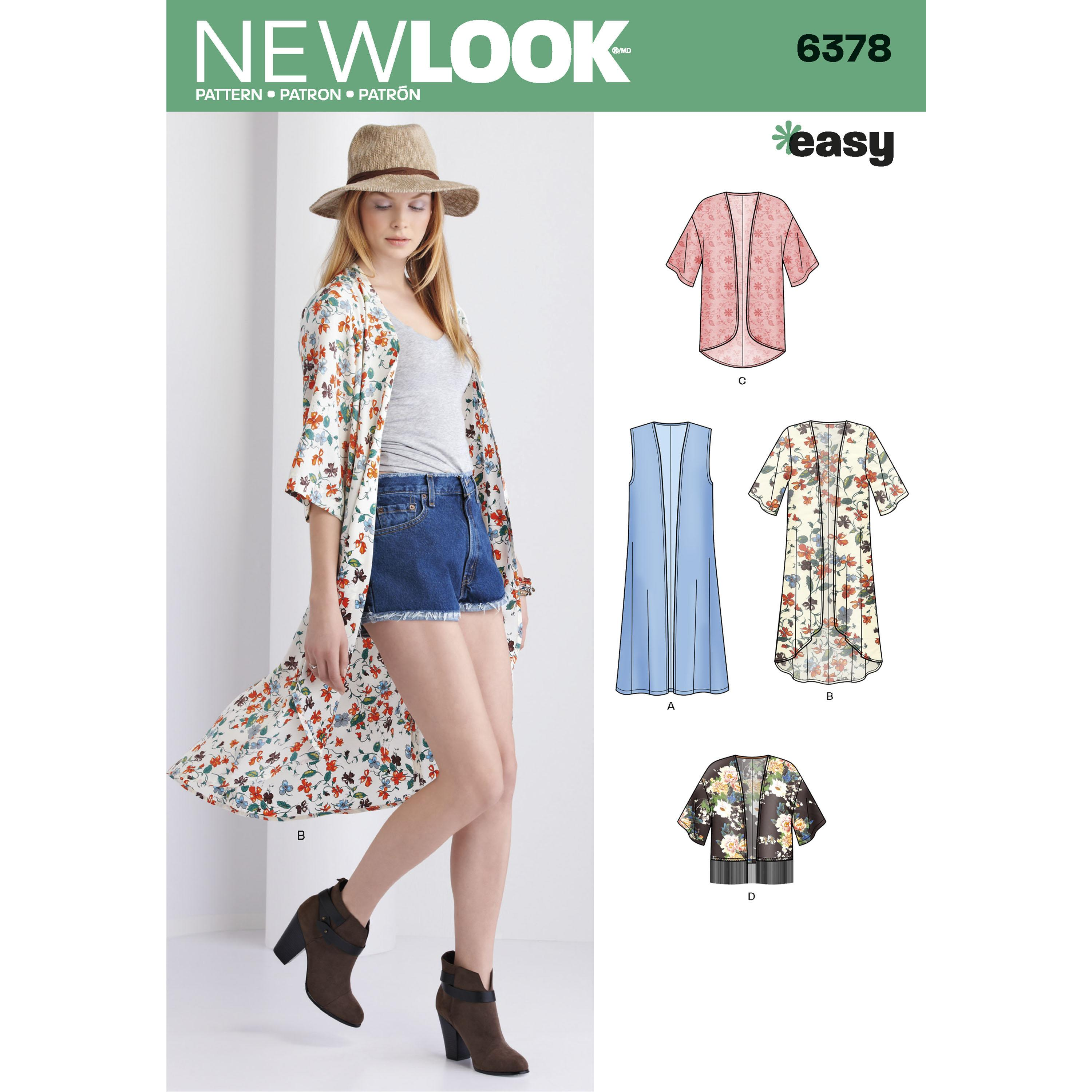 NewLook N6378 Misses' Easy Kimonos with Length Variations
