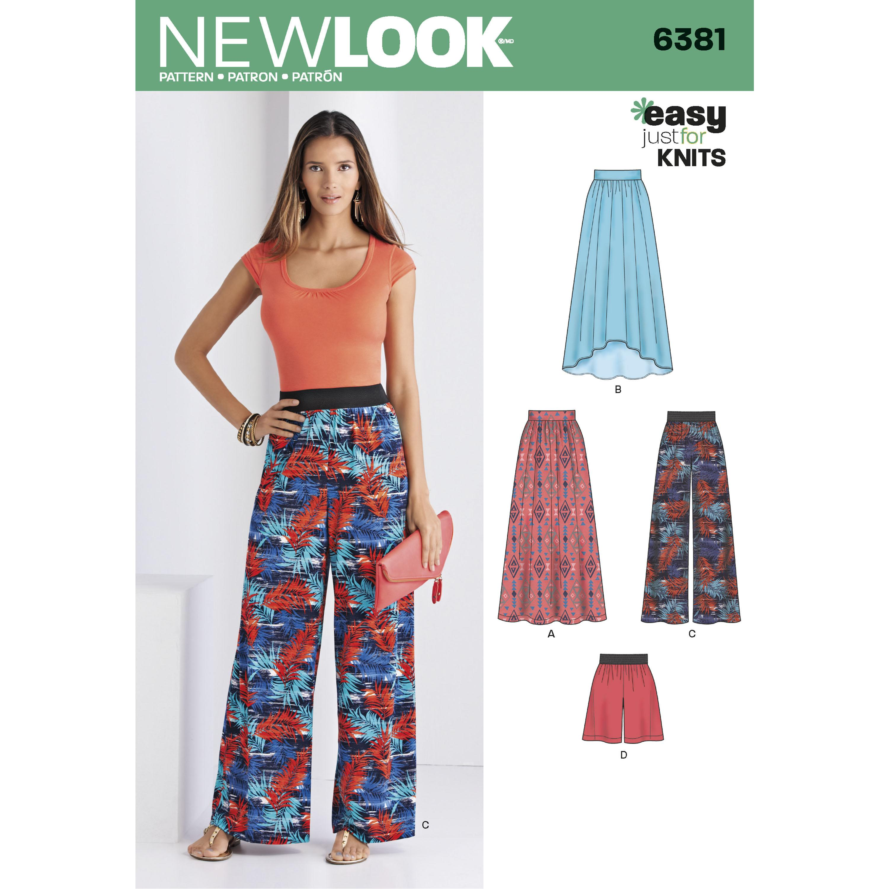 NewLook N6381 Misses' Knit Skirts and Pants or Shorts