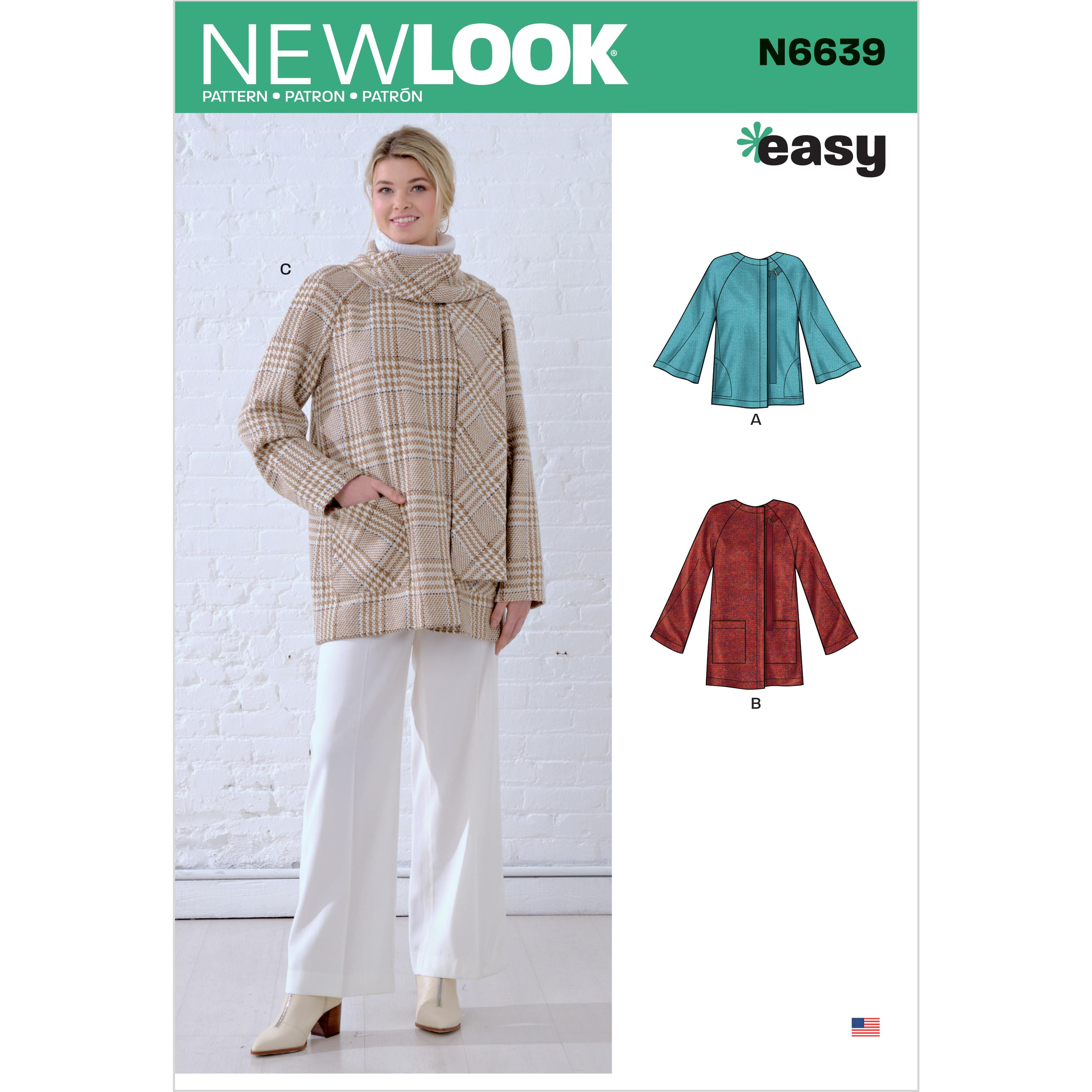 NewLook Sewing Pattern N6639 Misses' Poncho and Jackets