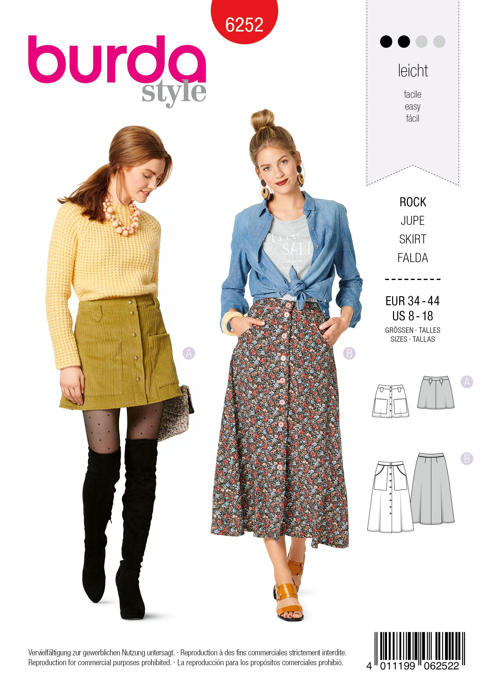 Burda 6252 Misses' Skirts, Front Fastening, Mini or Midi Length with Pocket Variations