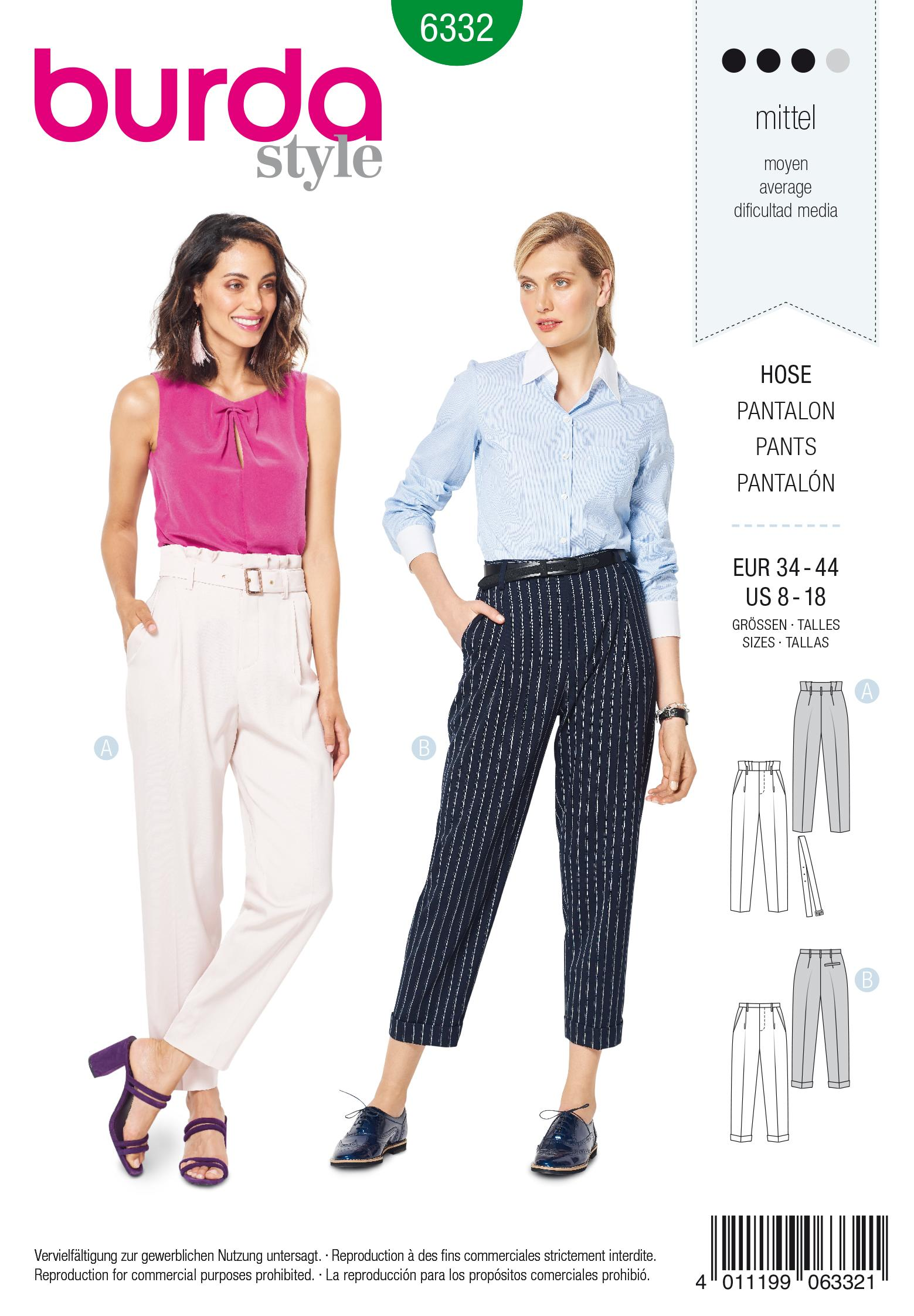 Burda 6332 Misses' highwaisted pants