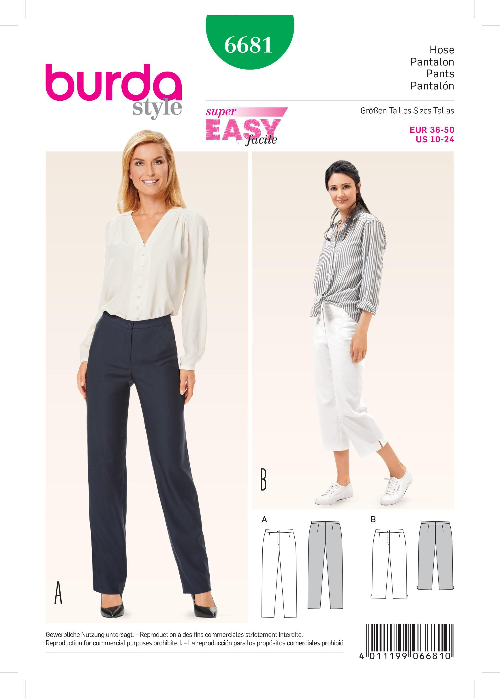 Burda B6681 Women's Trousers Sewing Pattern