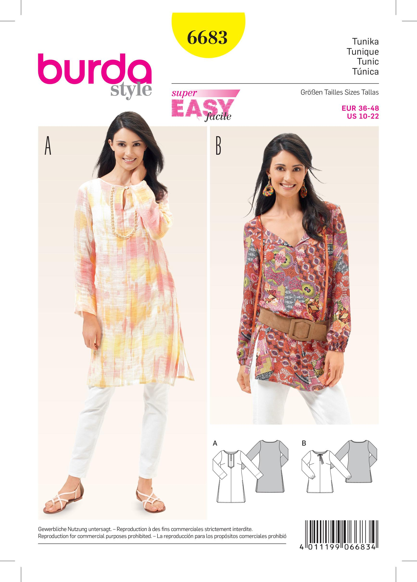 Burda B6683 Women's Tunic Sewing Pattern