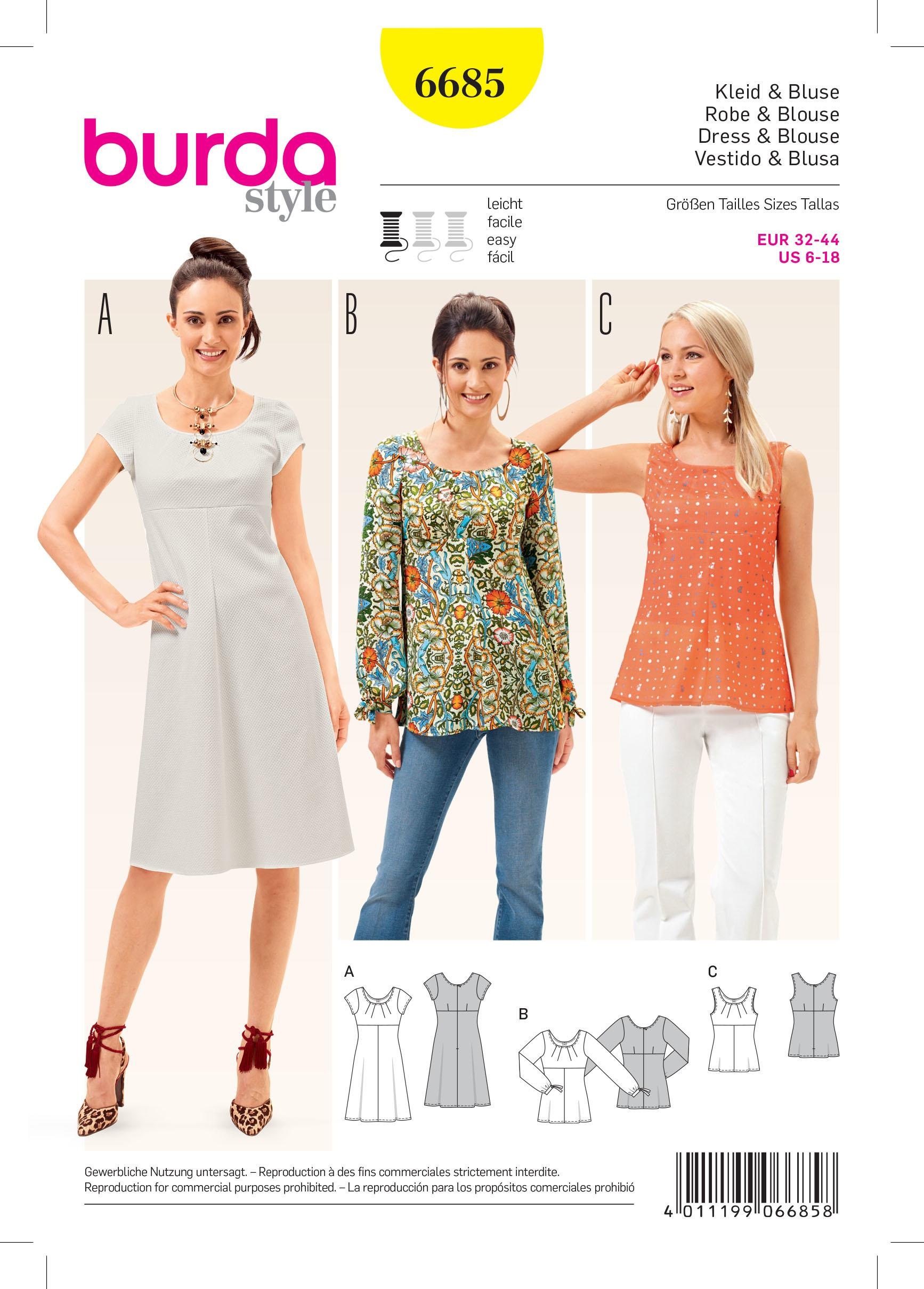 Burda B6685 Women's Dress & Blouse Sewing Pattern