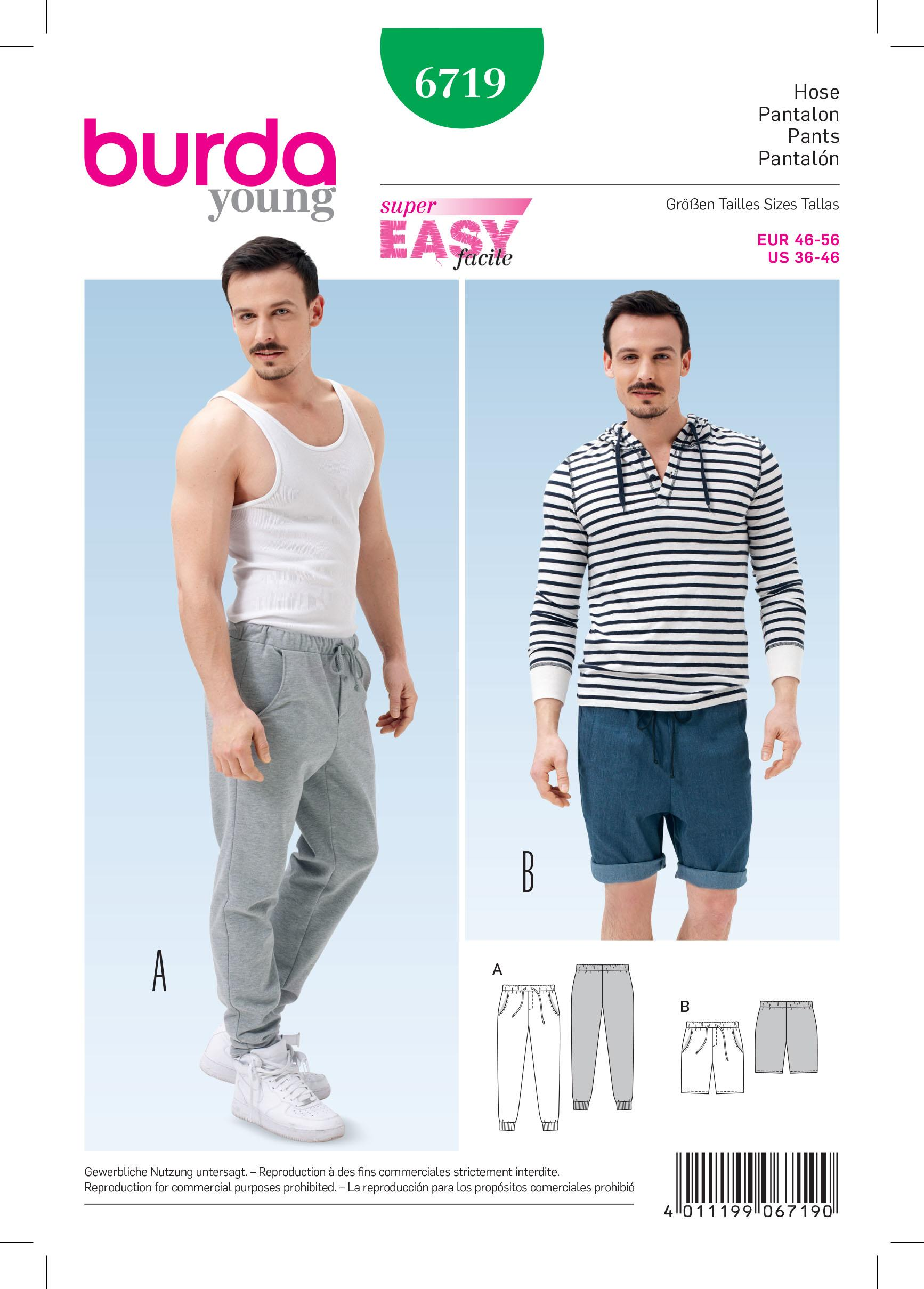 Burda B6719 Men's Jogging Trousers Sewing Pattern