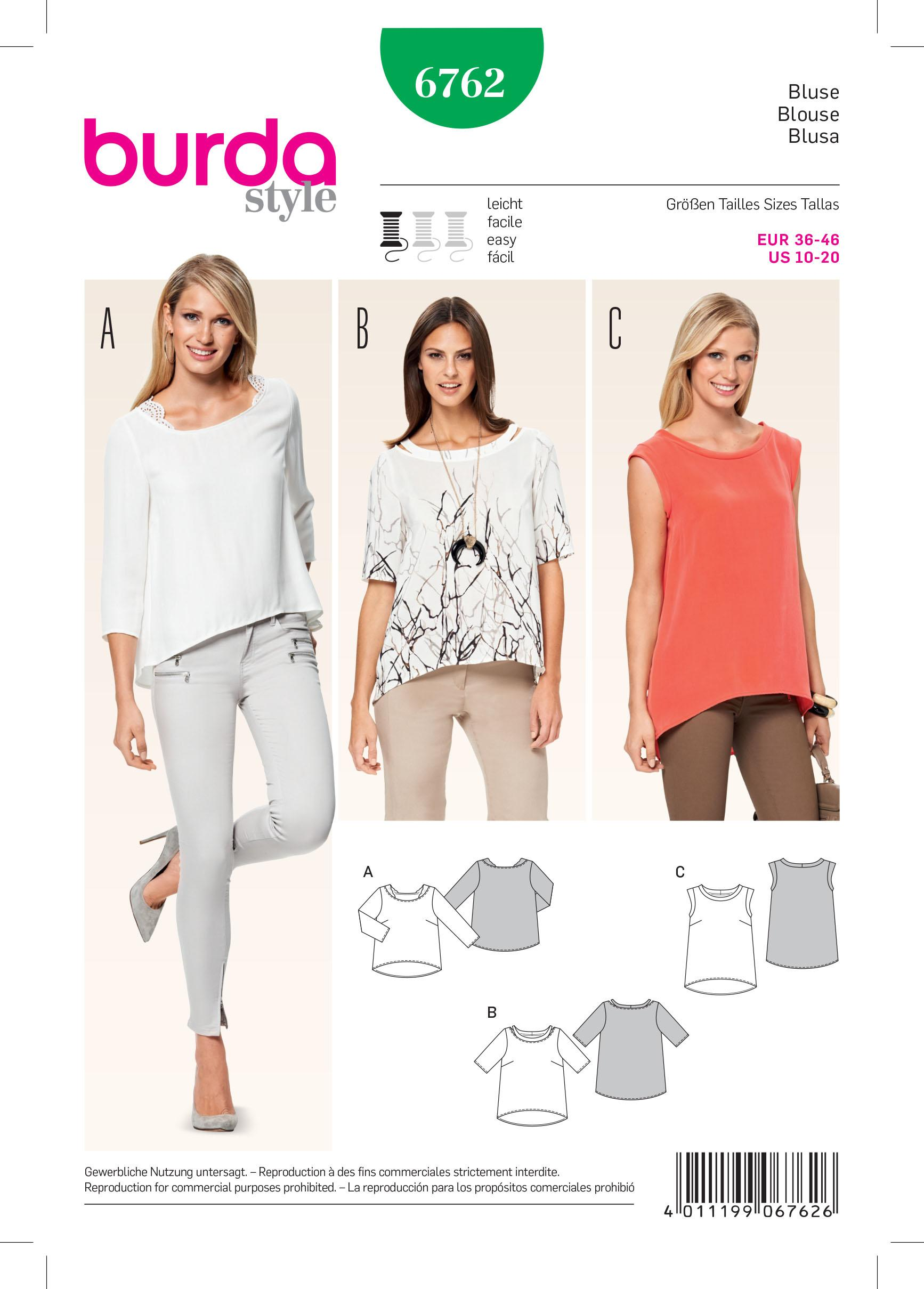 Burda B6762 Tops, Shirts, Blouses Sewing Pattern