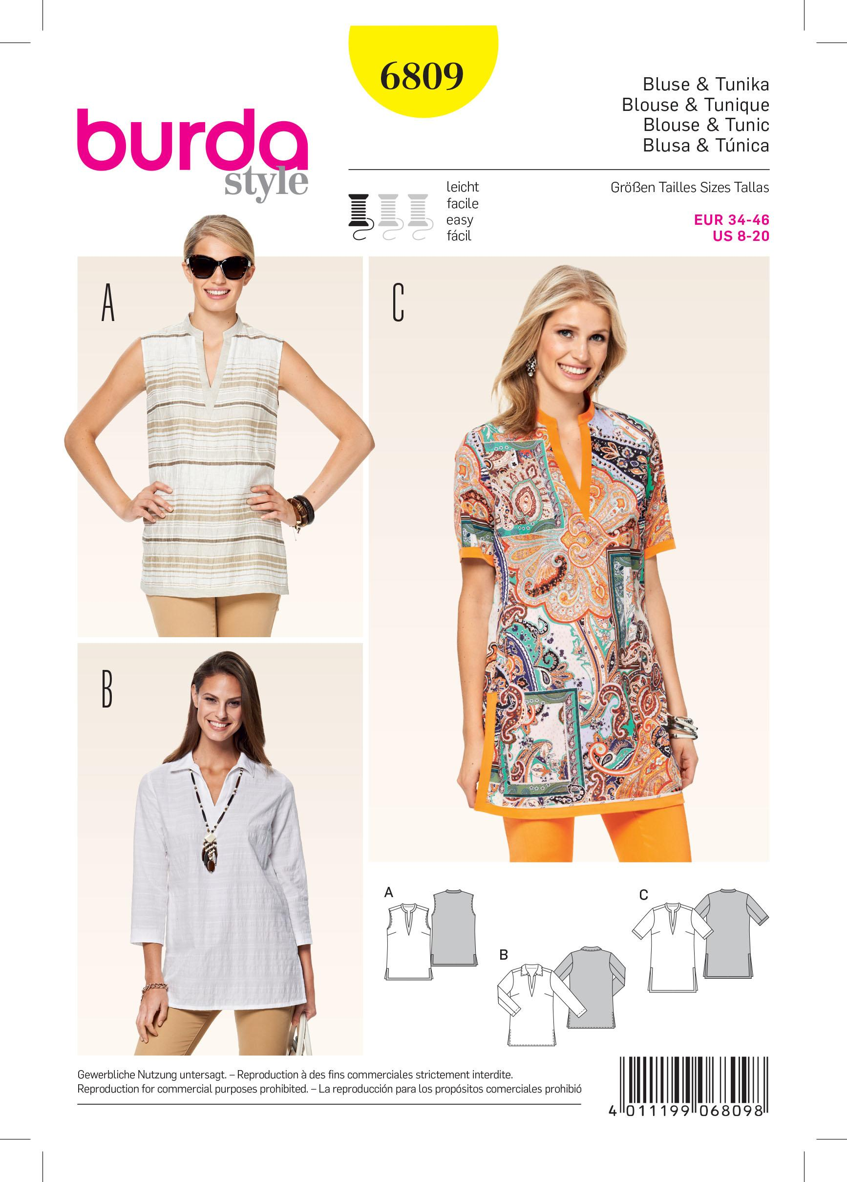 Burda B6809 Tops, Shirts, Blouses Sewing Pattern