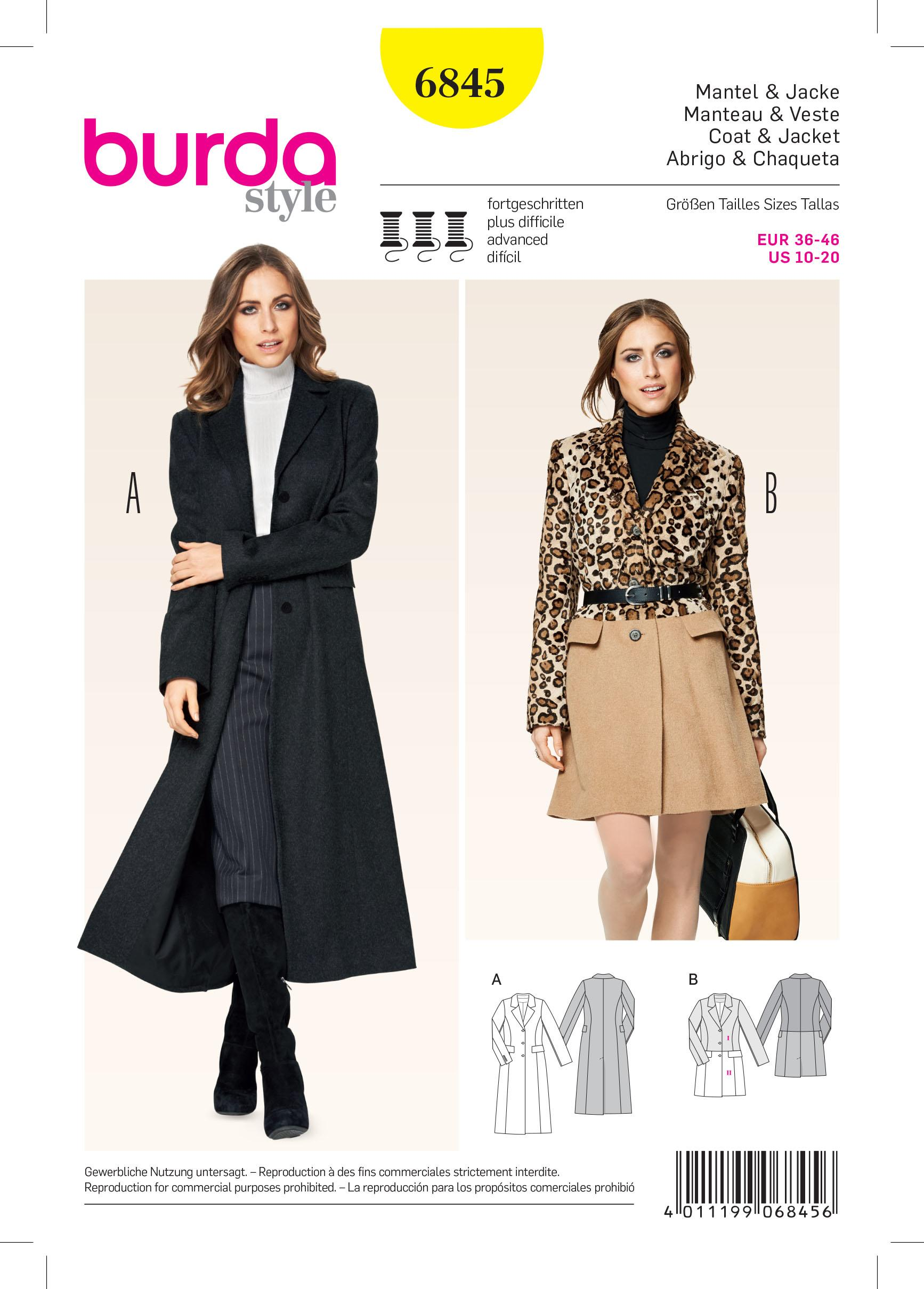 Burda B6845 Jacket, Coat & Vest Sewing Pattern