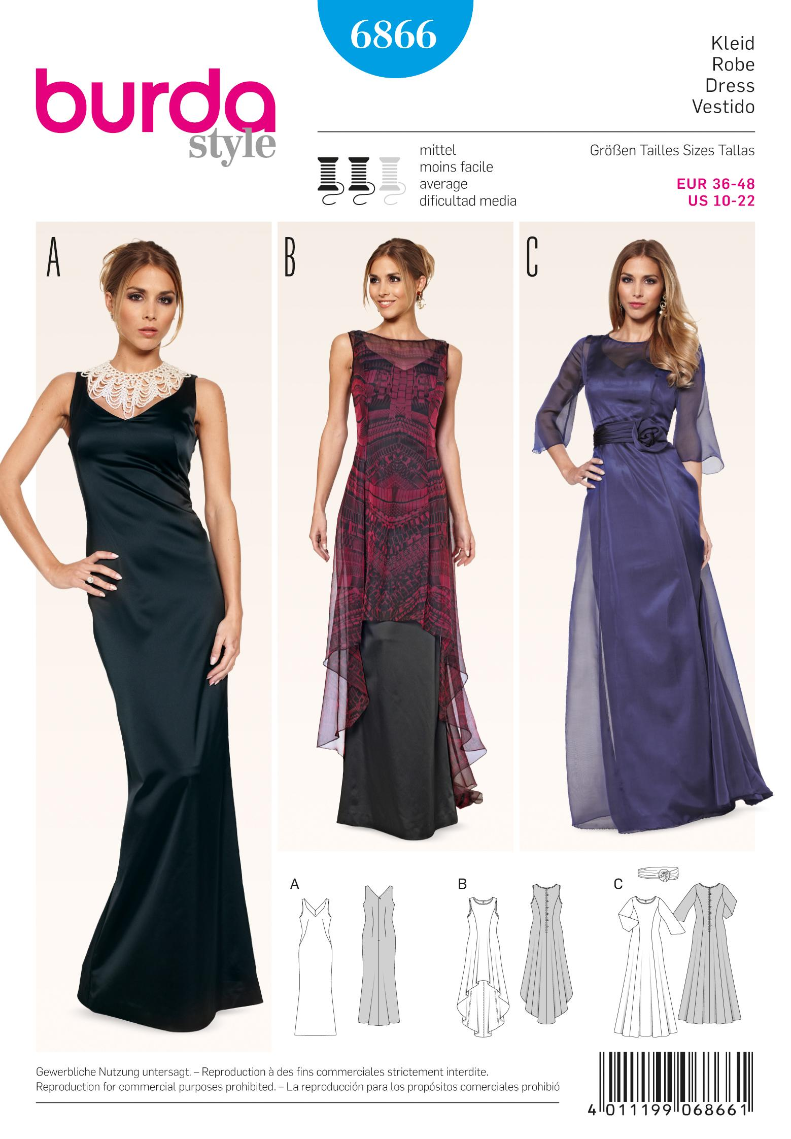 Burda B6866 Burda evening & bridal wear Sewing Pattern