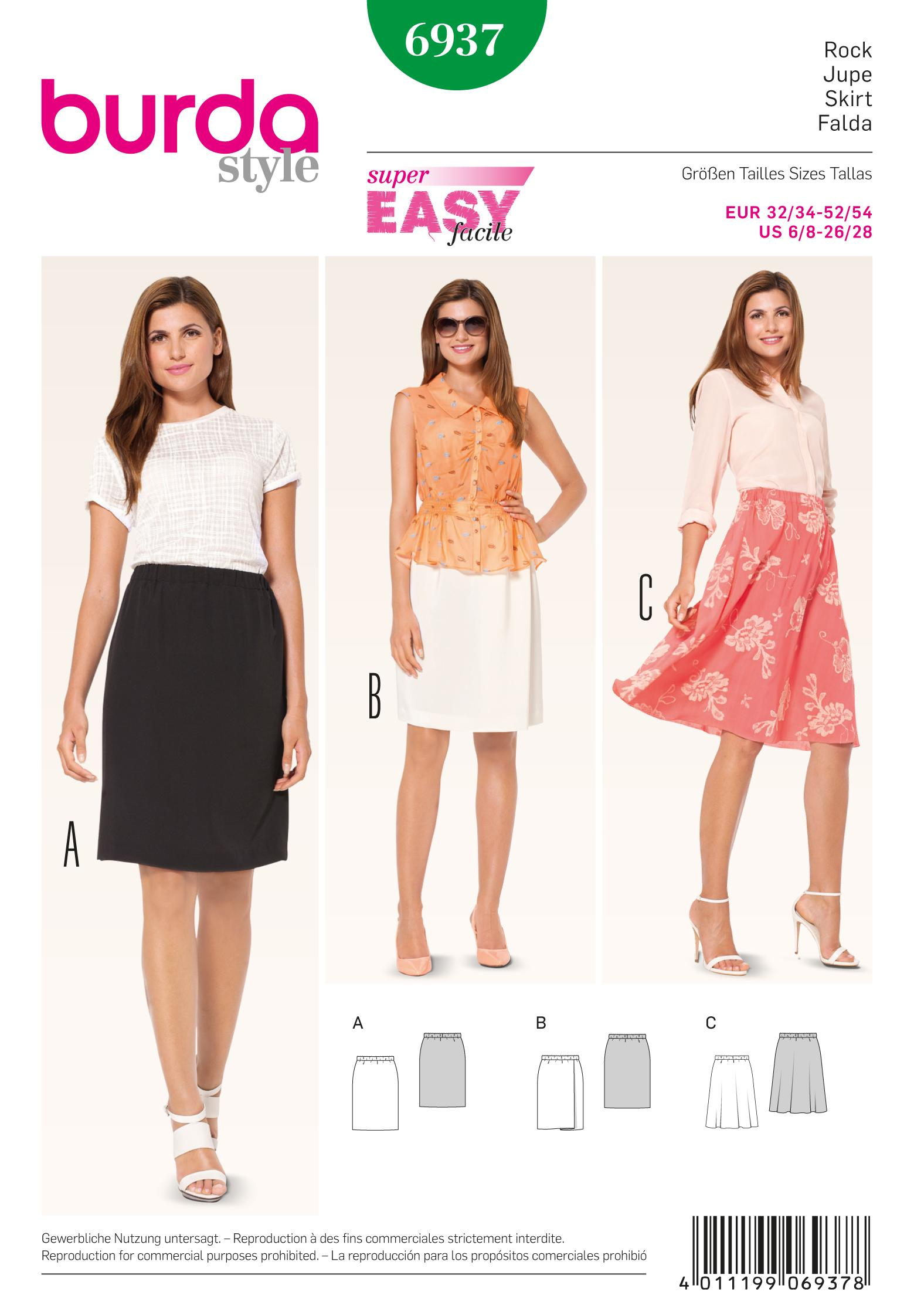 Burda B6937 Burda Skirts Sewing Pattern