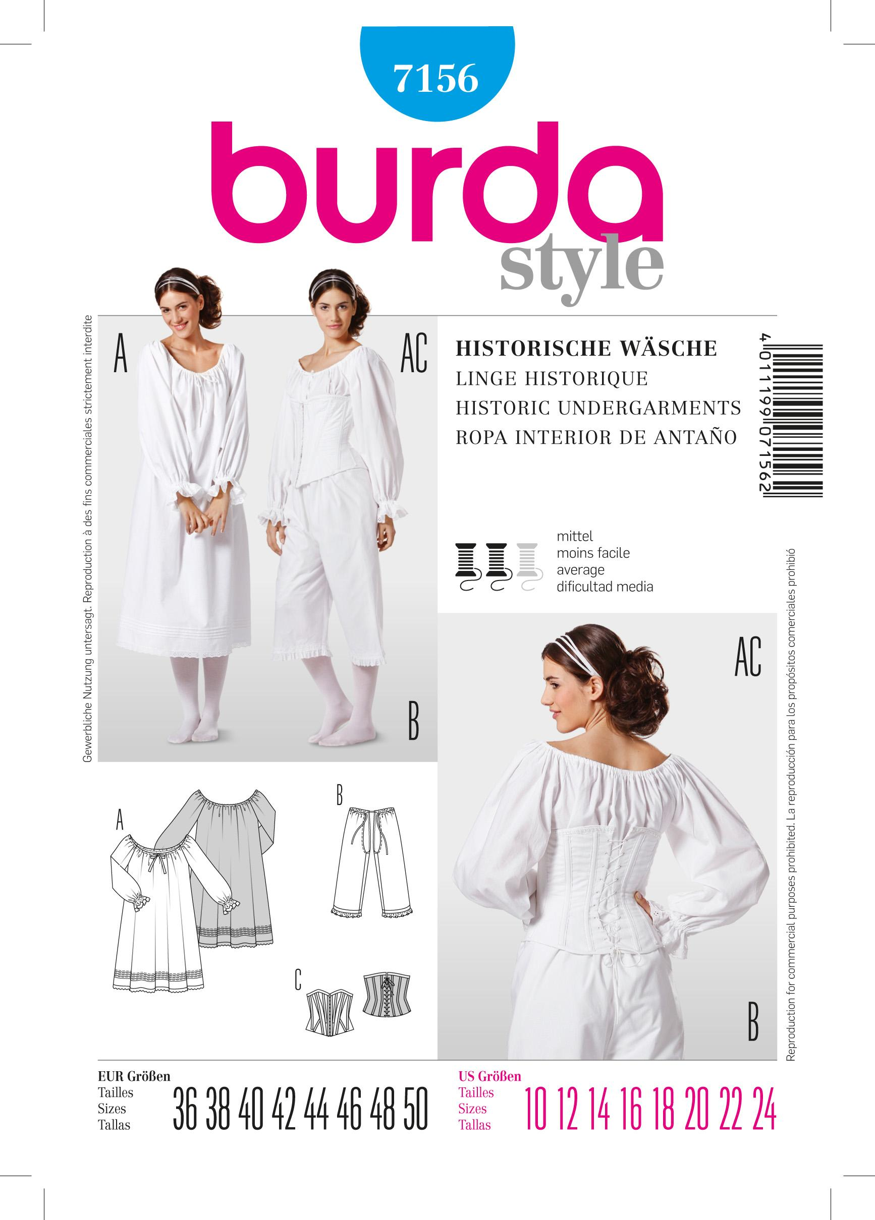 Burda B7156 Burda Historic Undergarments