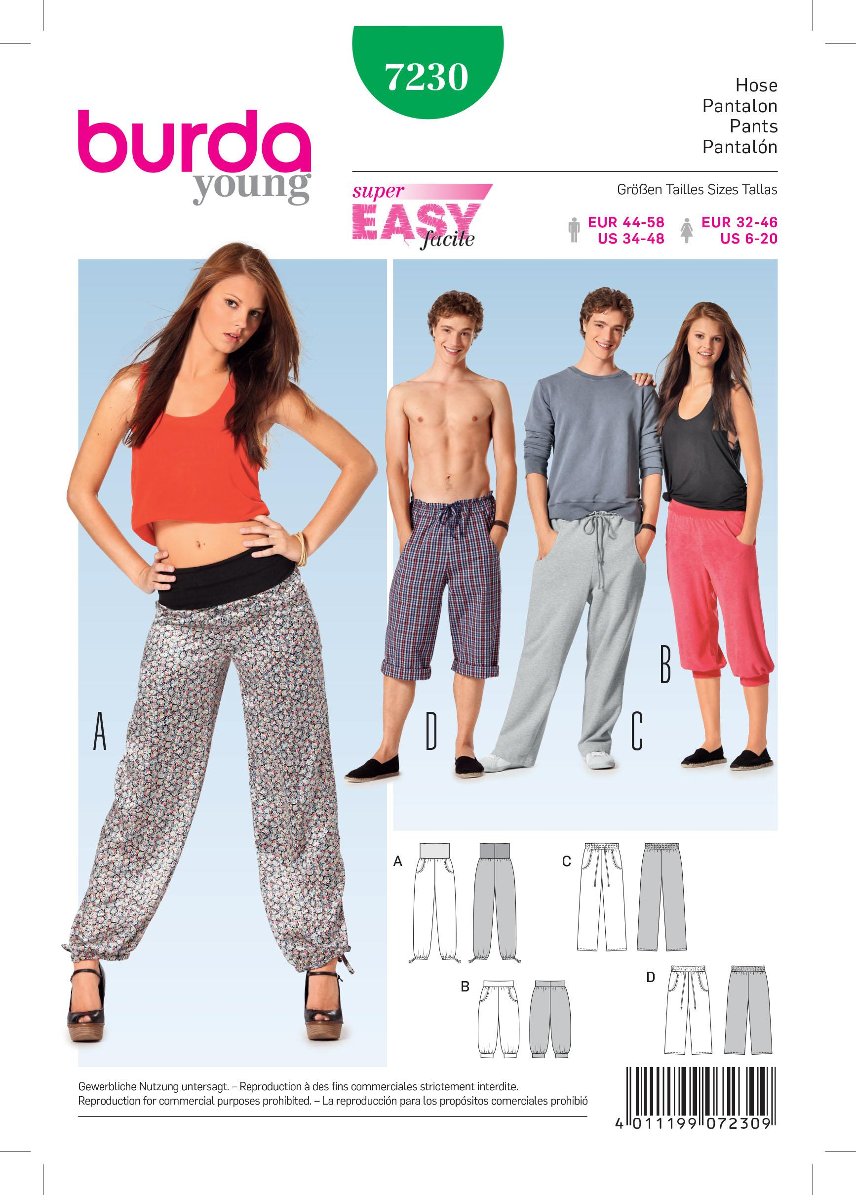 Burda B7230 Trousers Sewing Pattern