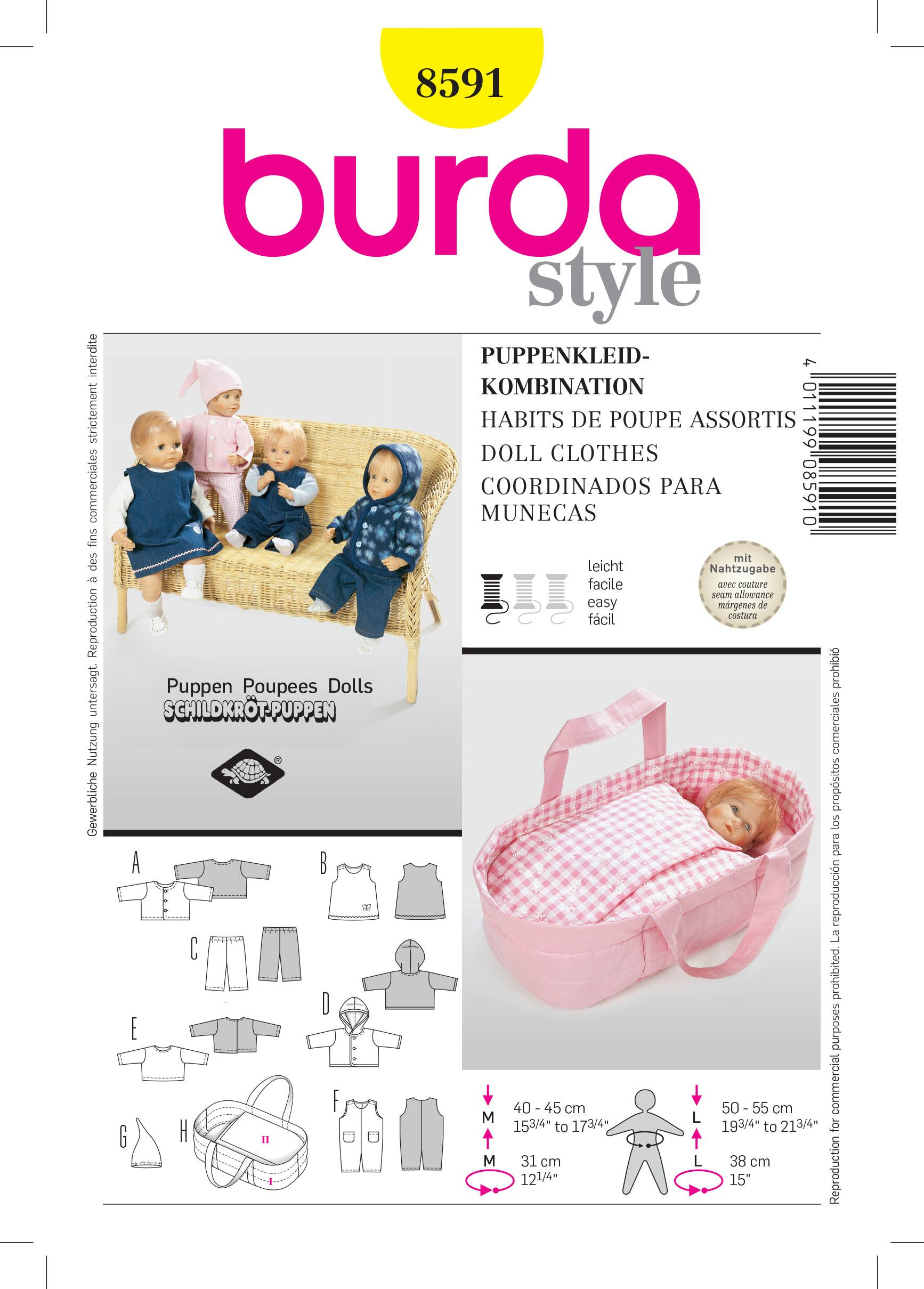 Burda B8591 Doll Clothes Sewing Pattern