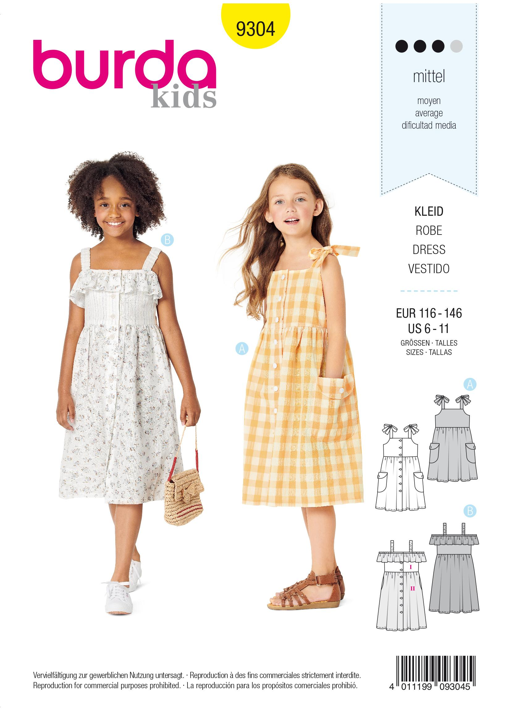 Burda B9304 Pinafore Dress with Front Button Fastening Sewing Pattern