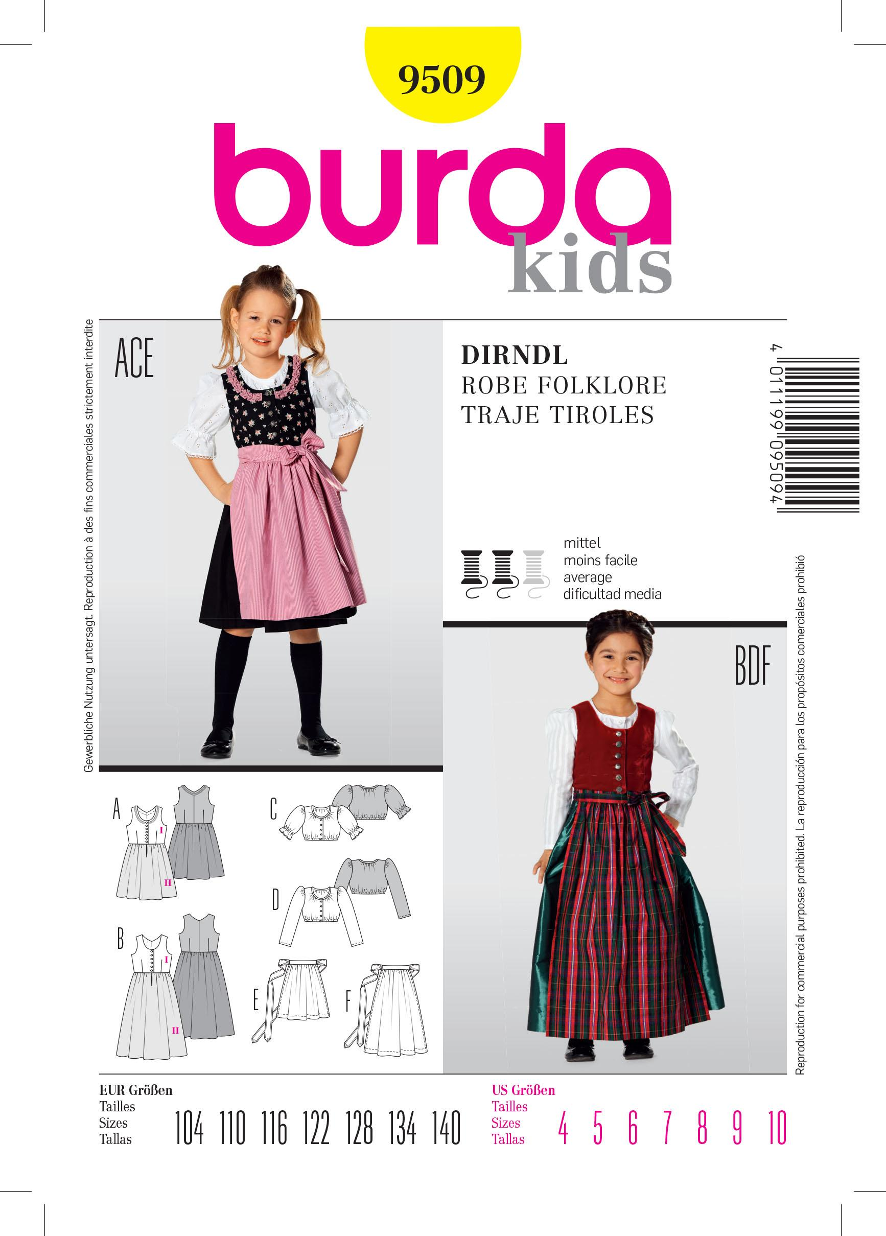 Burda B9509 Dirndl Dress Sewing Pattern