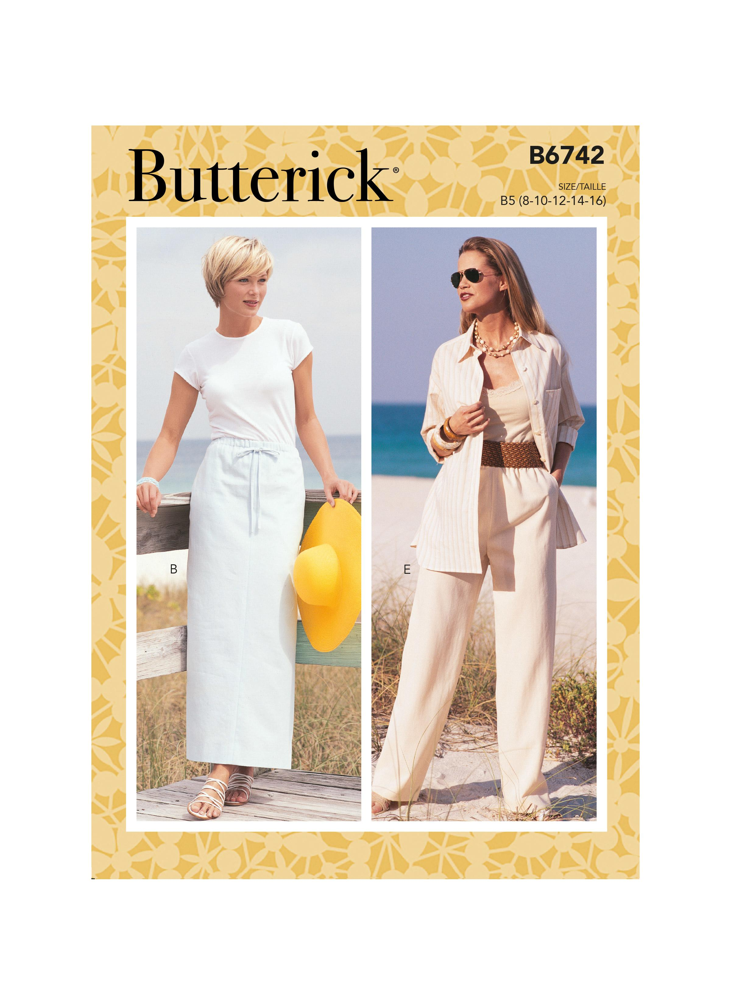 Butterick B6742 Misses'/Misses' Petite Elastic-Waist Skirts, Shorts and Pants